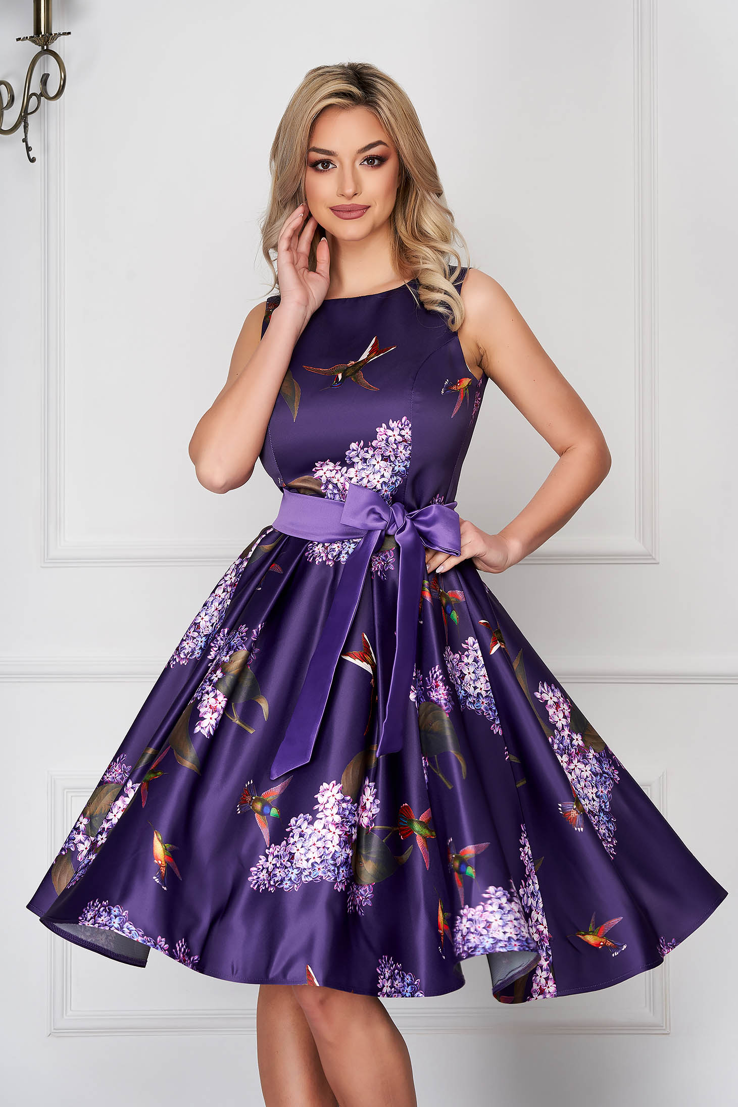 Purple dress occasional cloche from satin sleeveless accessorized with tied waistband midi