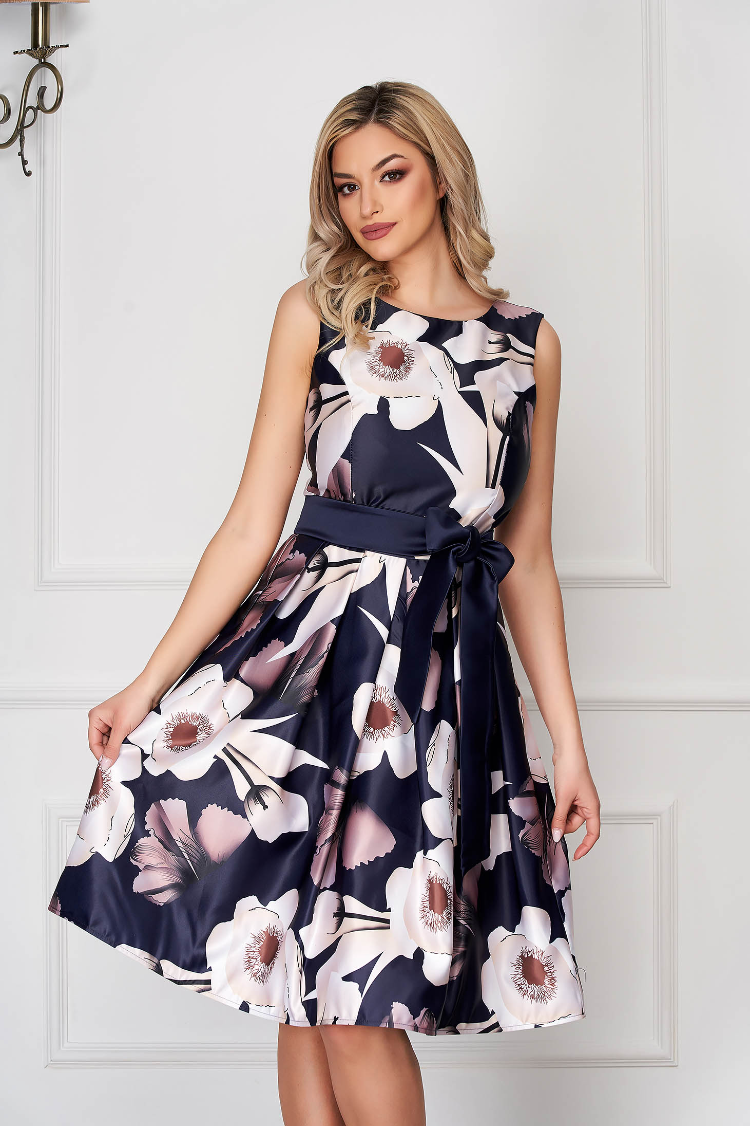 Cappuccino dress occasional cloche from satin sleeveless accessorized with tied waistband midi