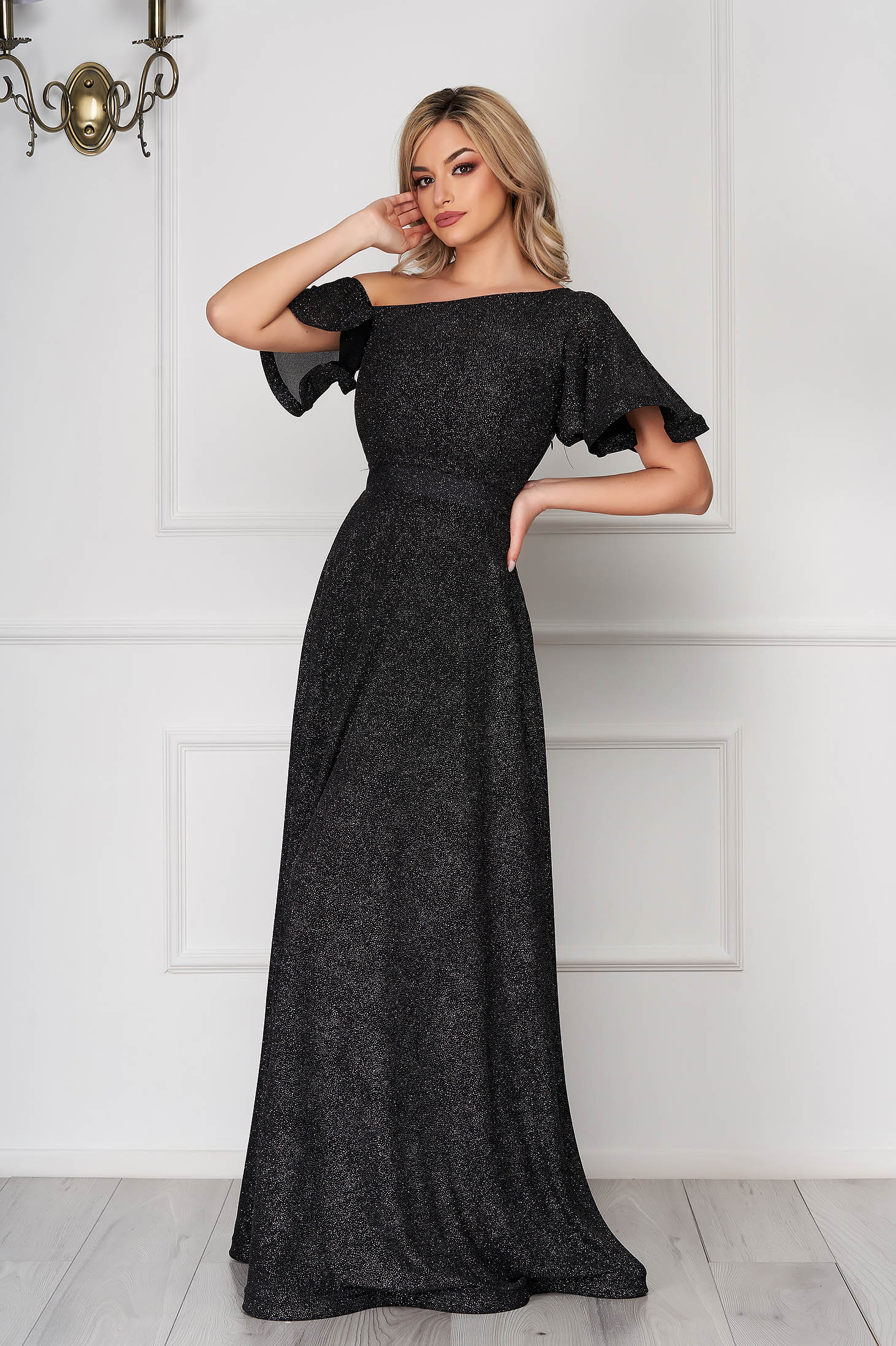 Dress StarShinerS black long occasional cloche from veil fabric one shoulder