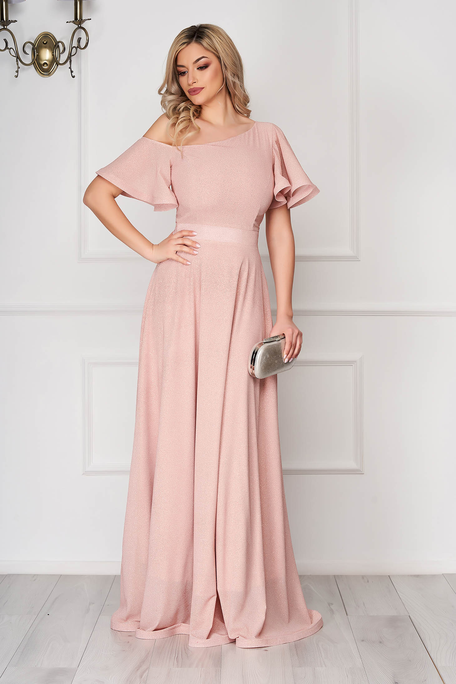 Dress StarShinerS lightpink long occasional cloche from veil fabric one shoulder
