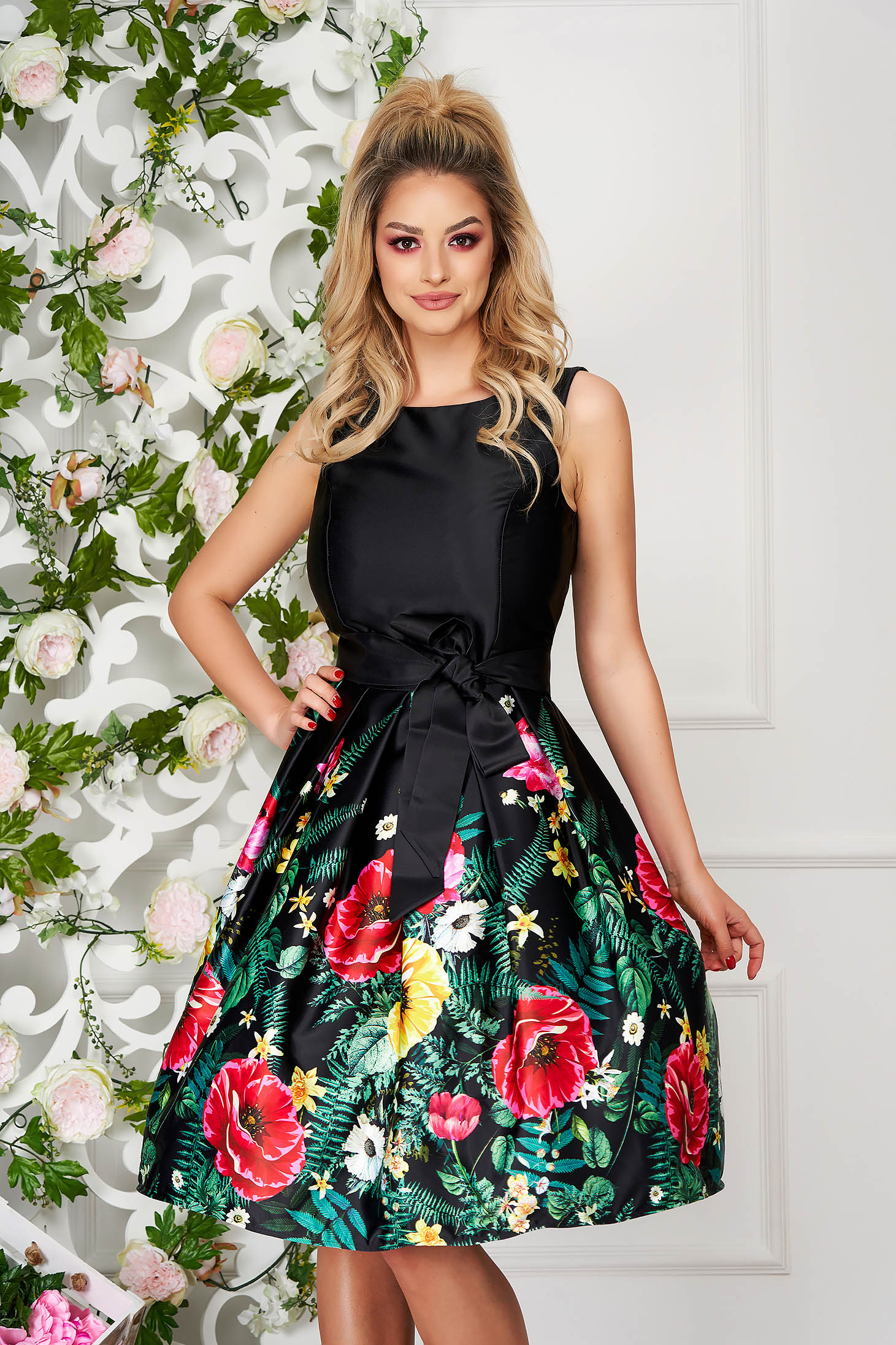 Black dress occasional midi from satin sleeveless with floral print