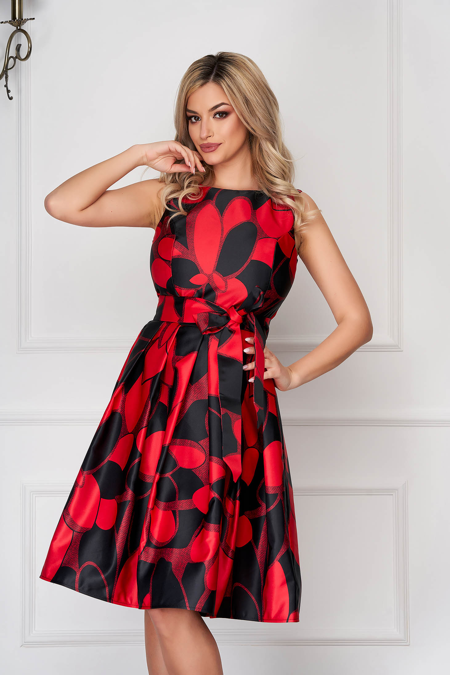 Red dress occasional midi from satin sleeveless with floral print