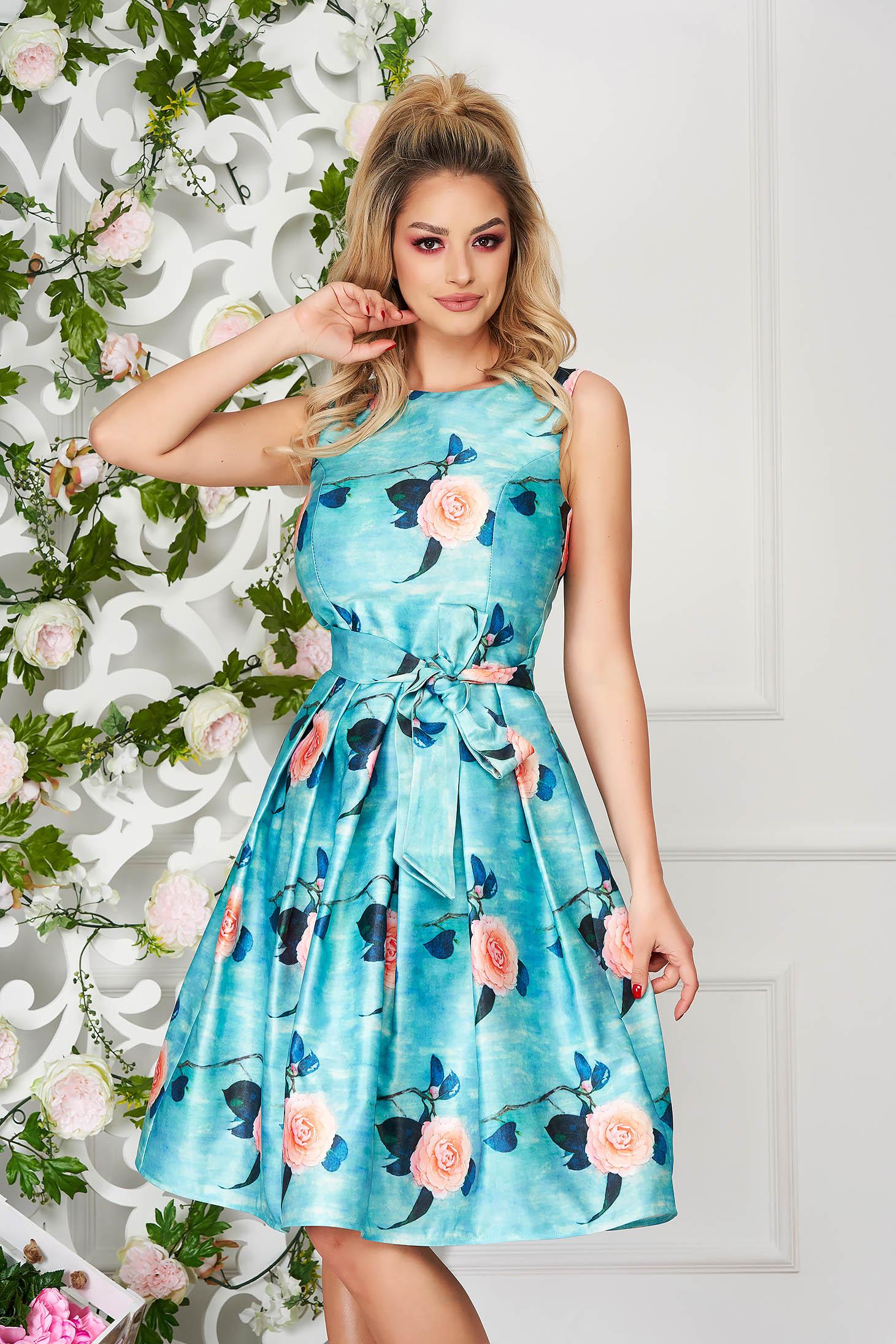 Rochie Artista albastru aqua midi de ocazie din satin fara maneci cu imprimeu floral