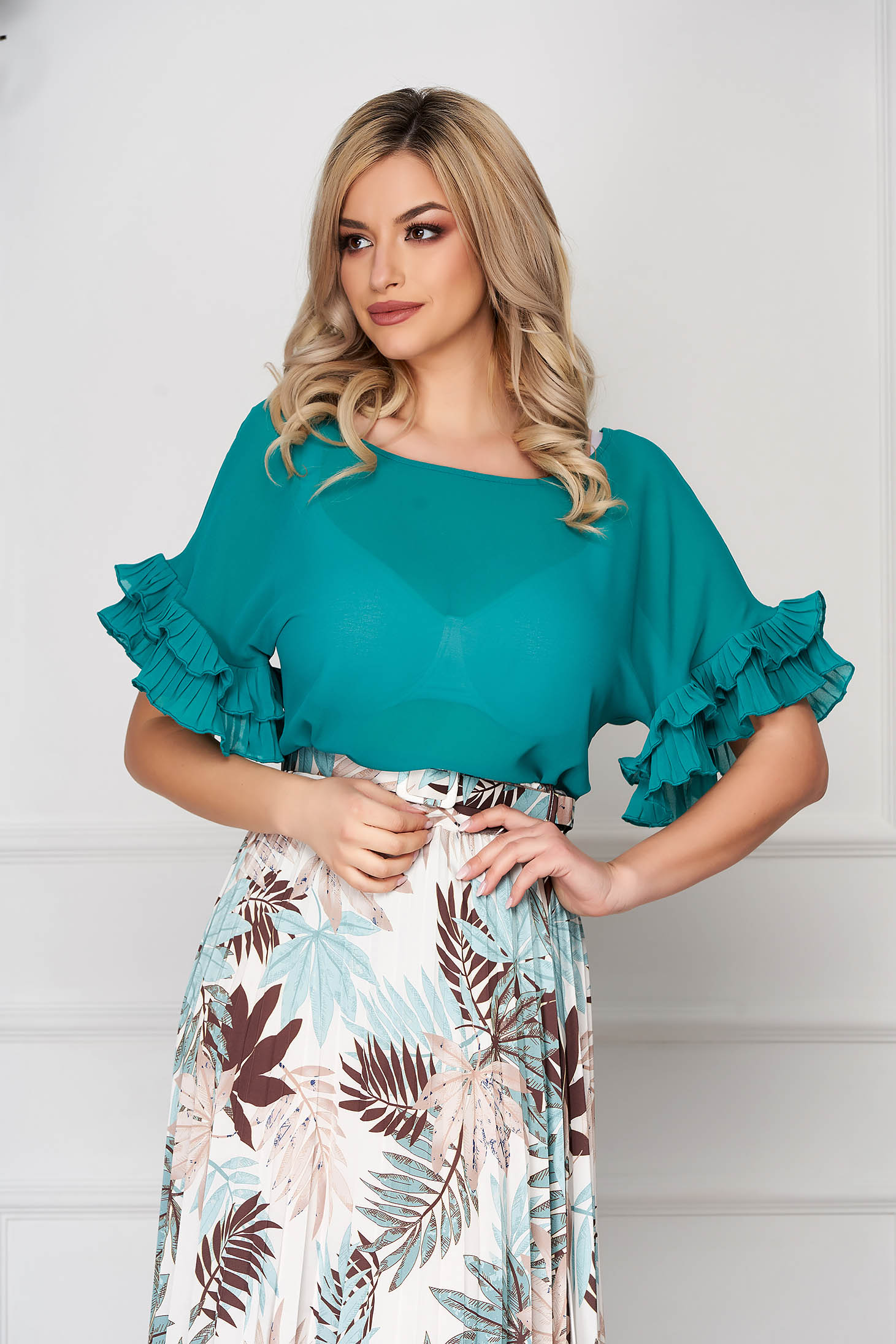 Women`s blouse StarShinerS green office thin fabric flared large sleeves