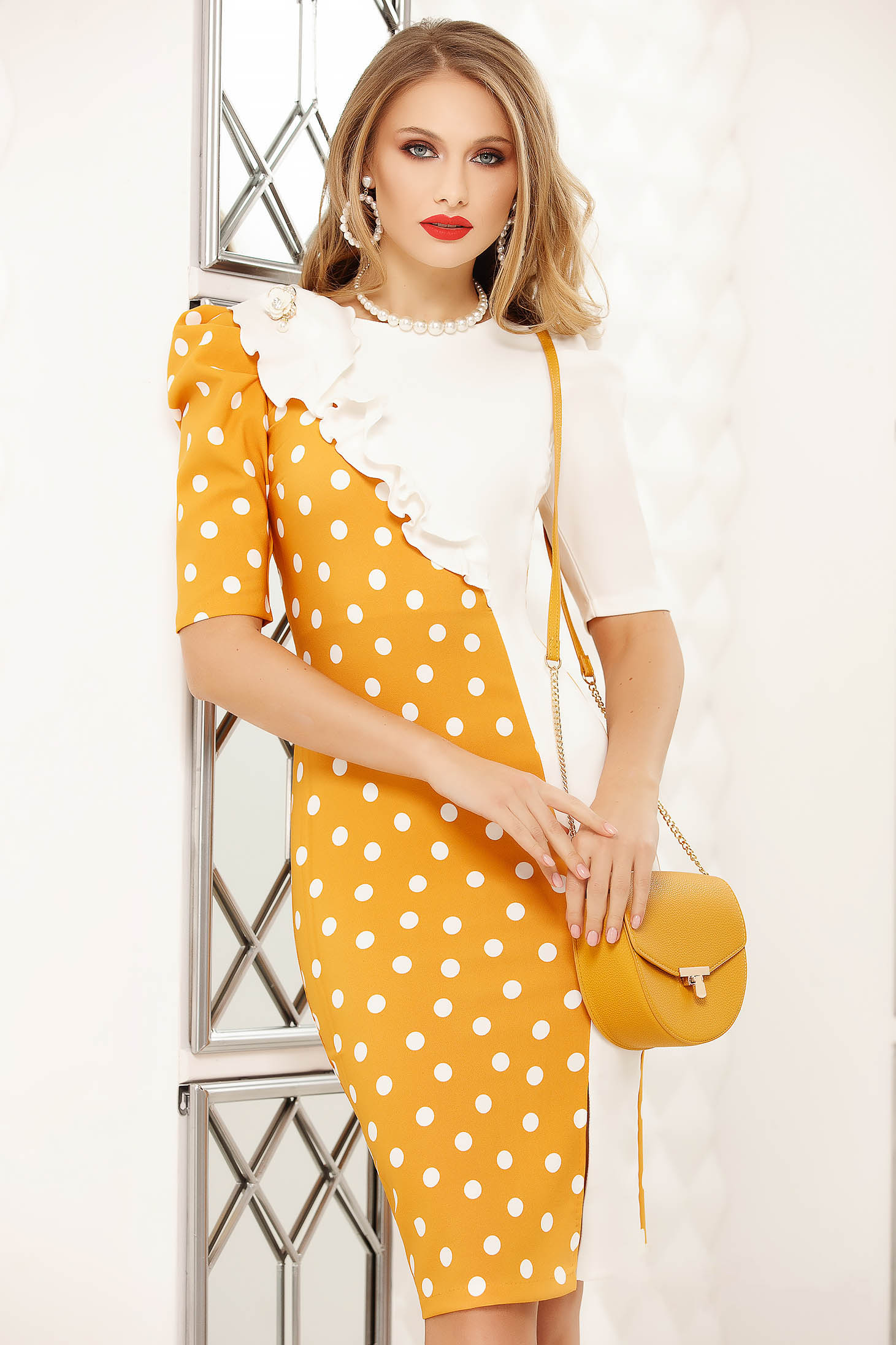 Yellow elegant short cut pencil dress dots print with ruffle details