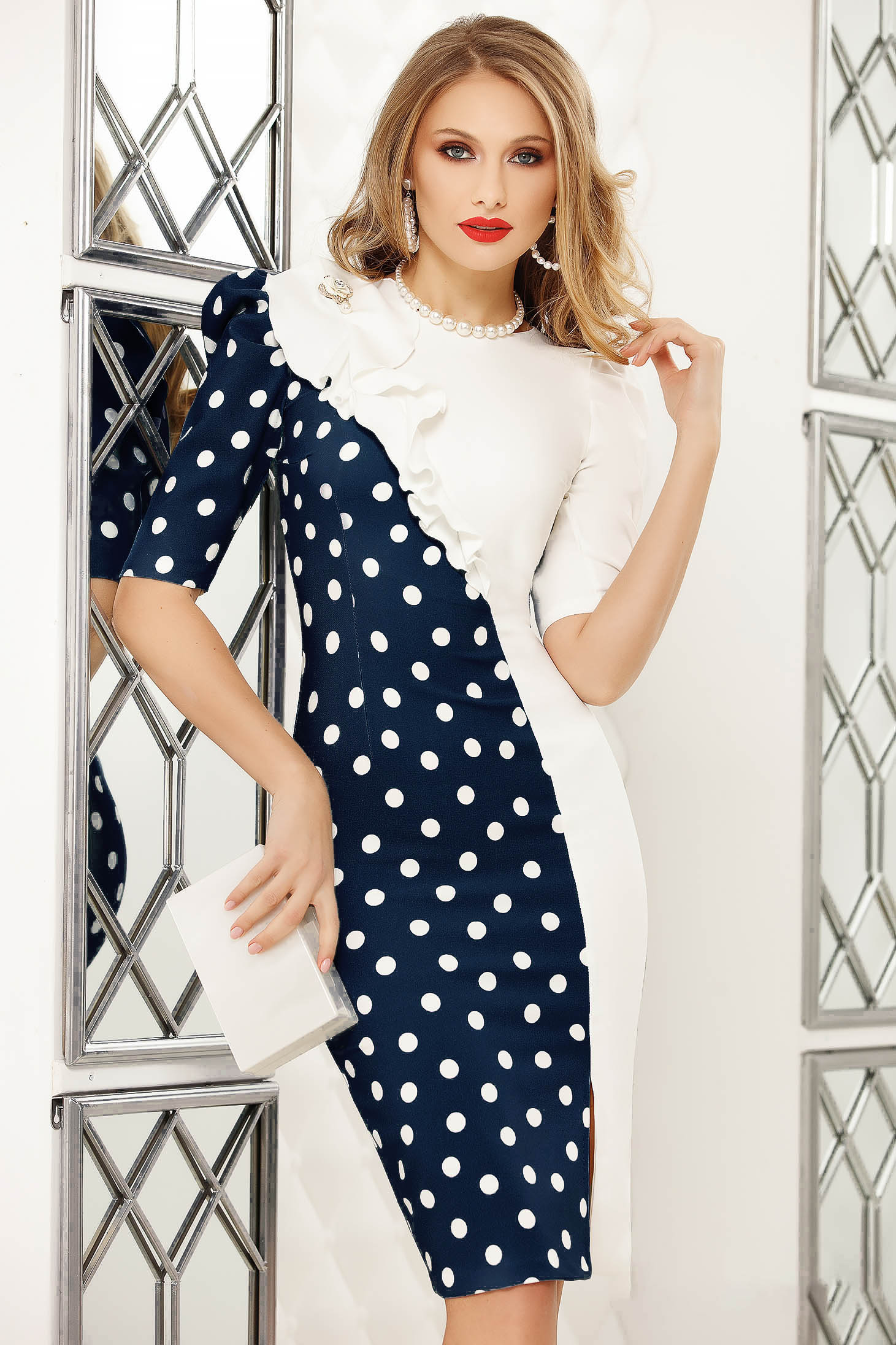 Darkblue elegant short cut pencil dress dots print with ruffle details