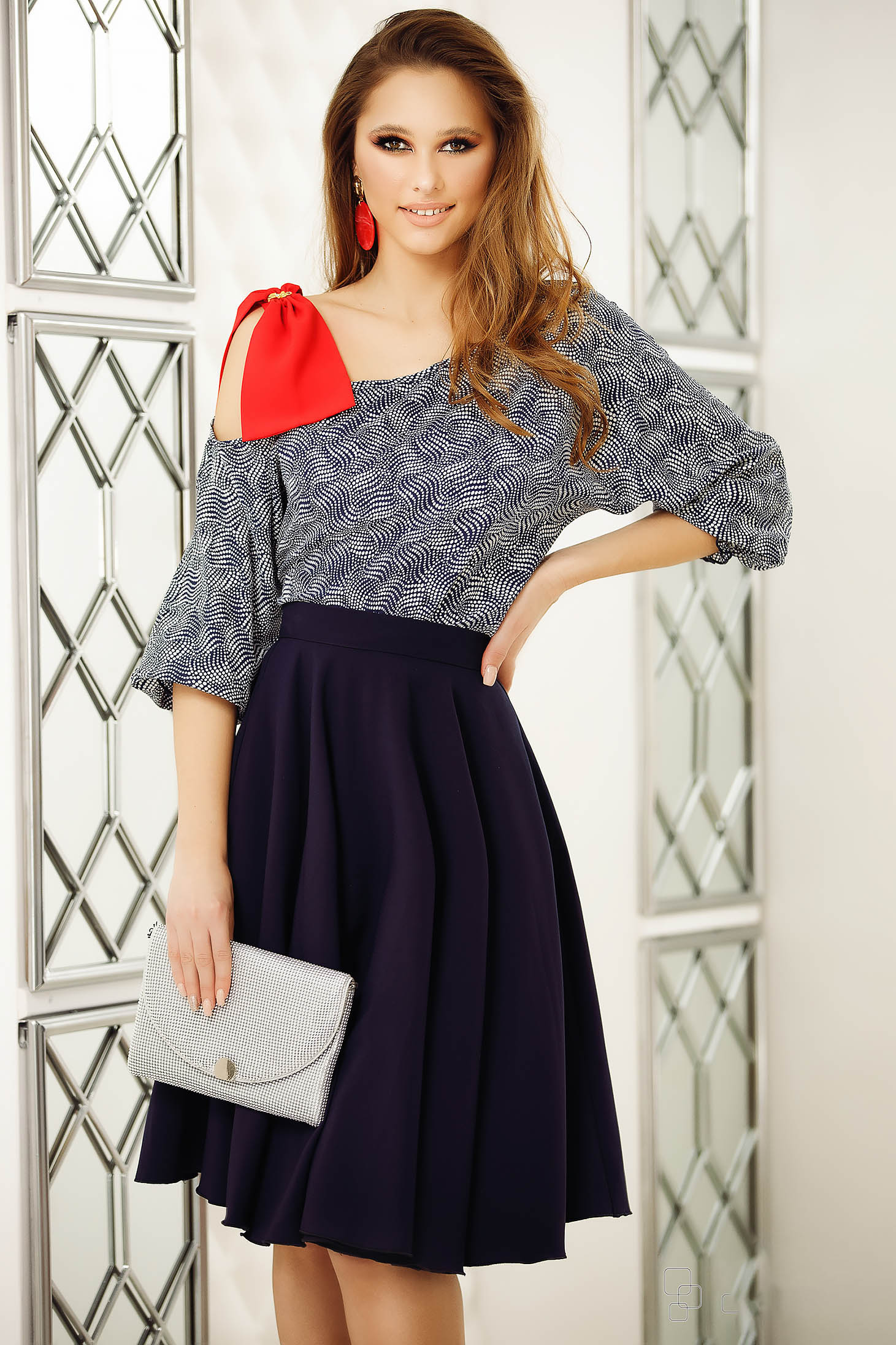 Blue women`s blouse with bow one shoulder elegant flared short cut cotton