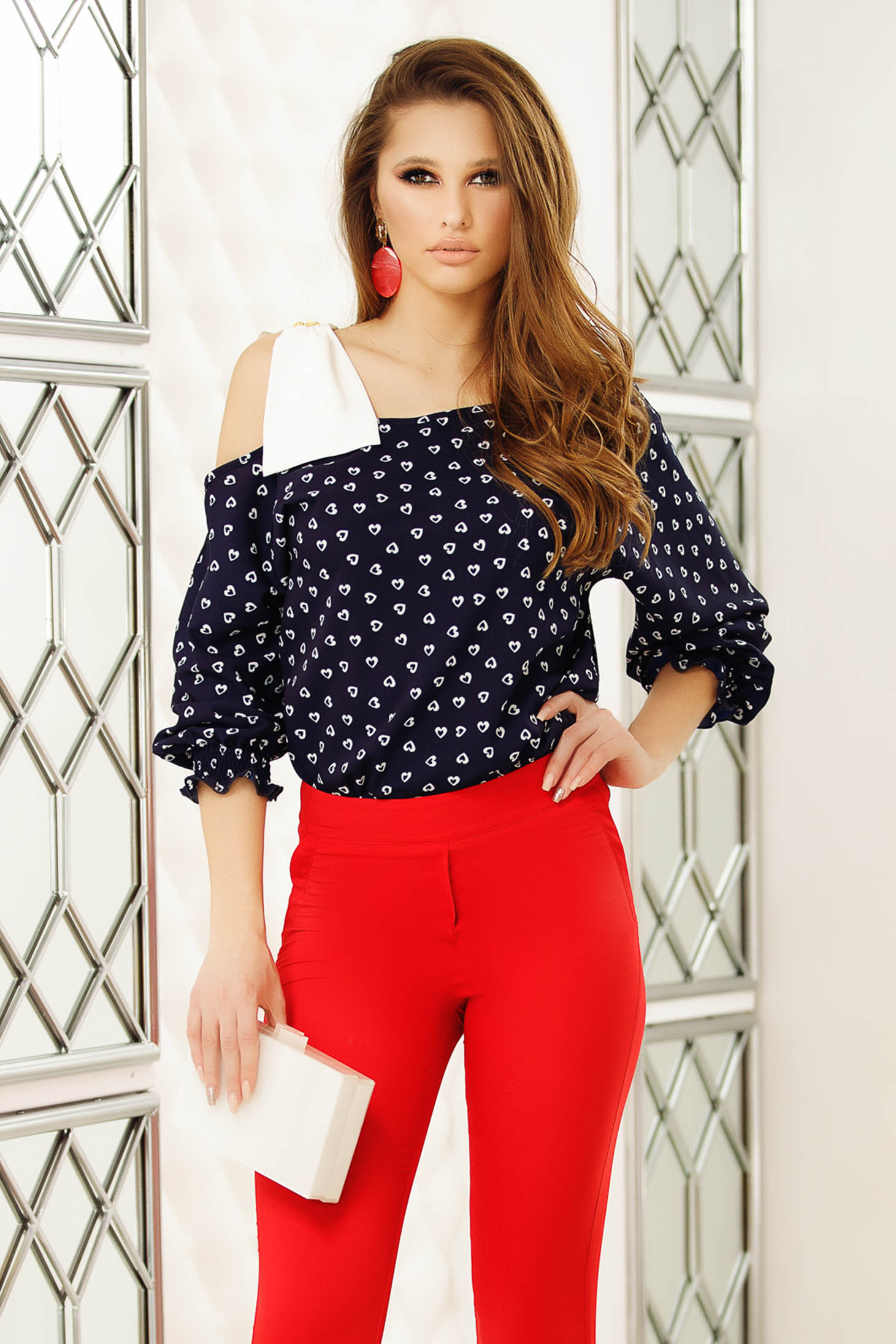 White women`s blouse with bow one shoulder elegant flared short cut cotton