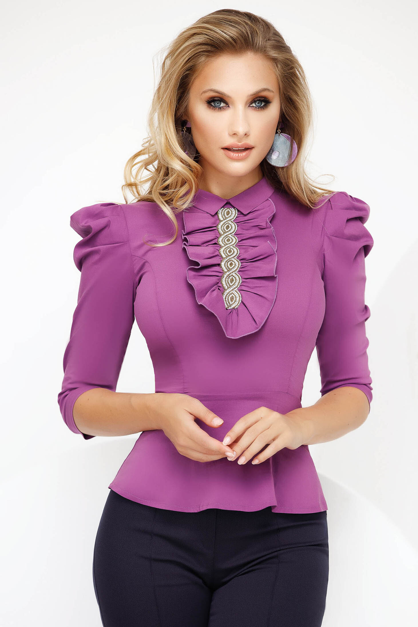 Purple office short cut tented women`s shirt peplum high shoulders