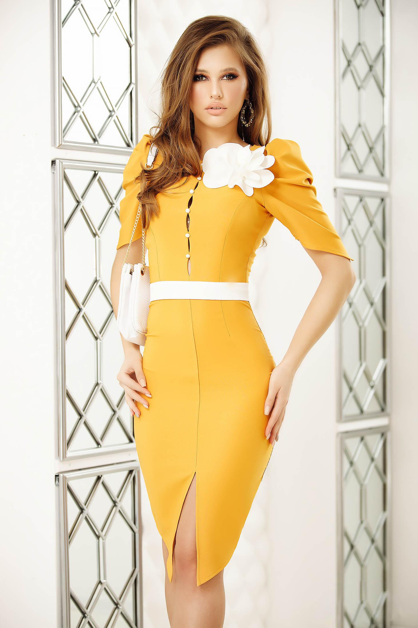 Mustard office short cut pencil dress short sleeves