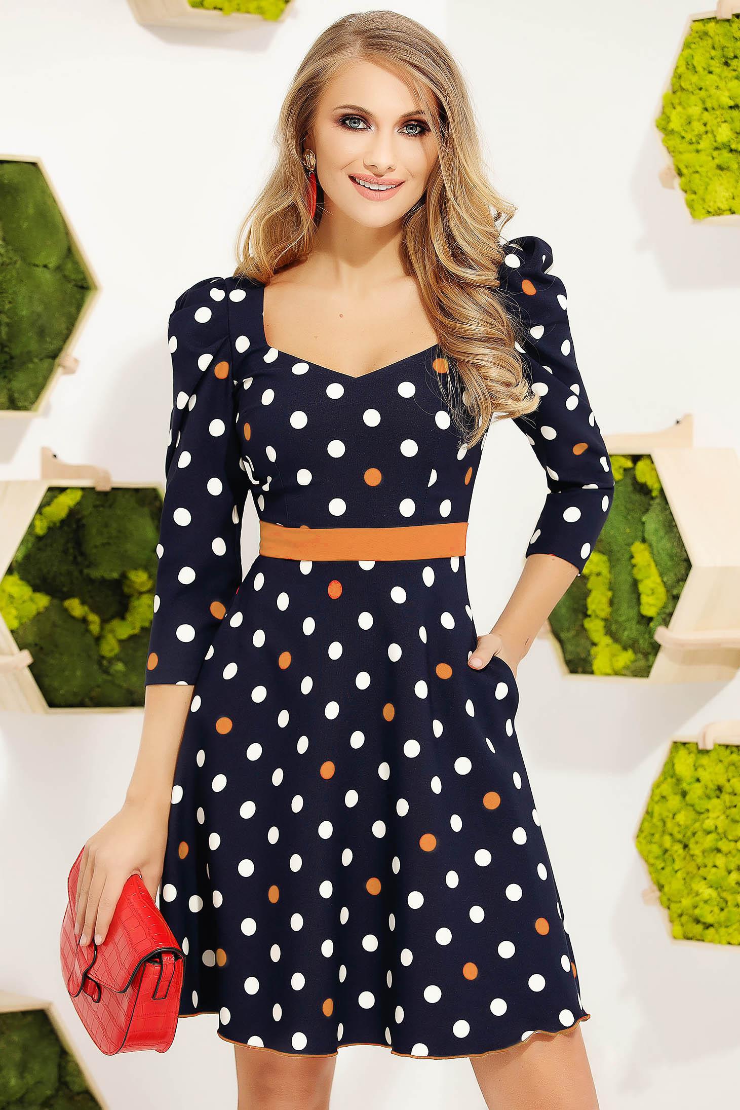 Mustard dress elegant short cut cloche accessorized with belt high shoulders