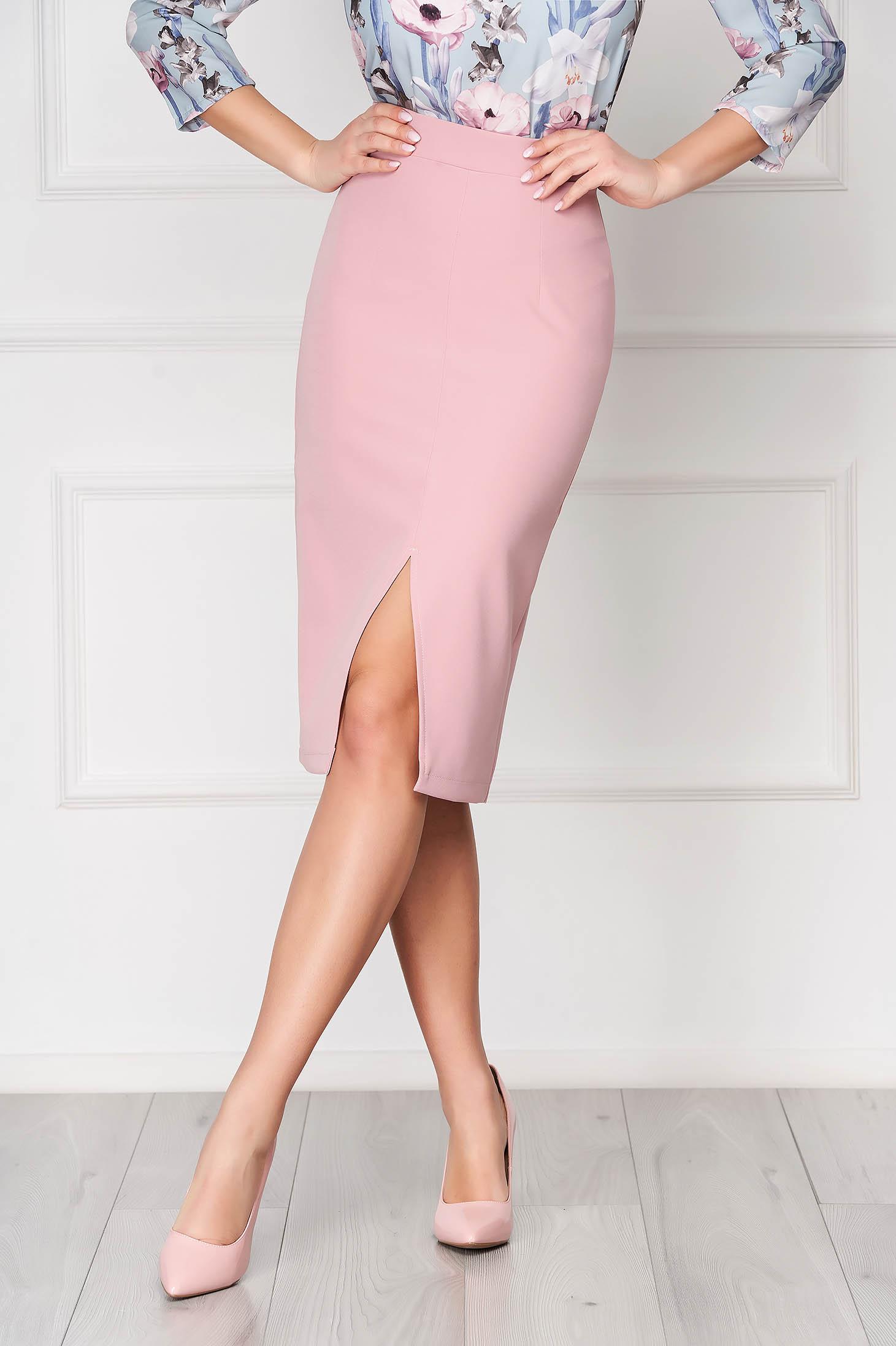 Fusta StarShinerS roz prafuit tip creion cu talie inalta din material usor elastic captusita pe interior