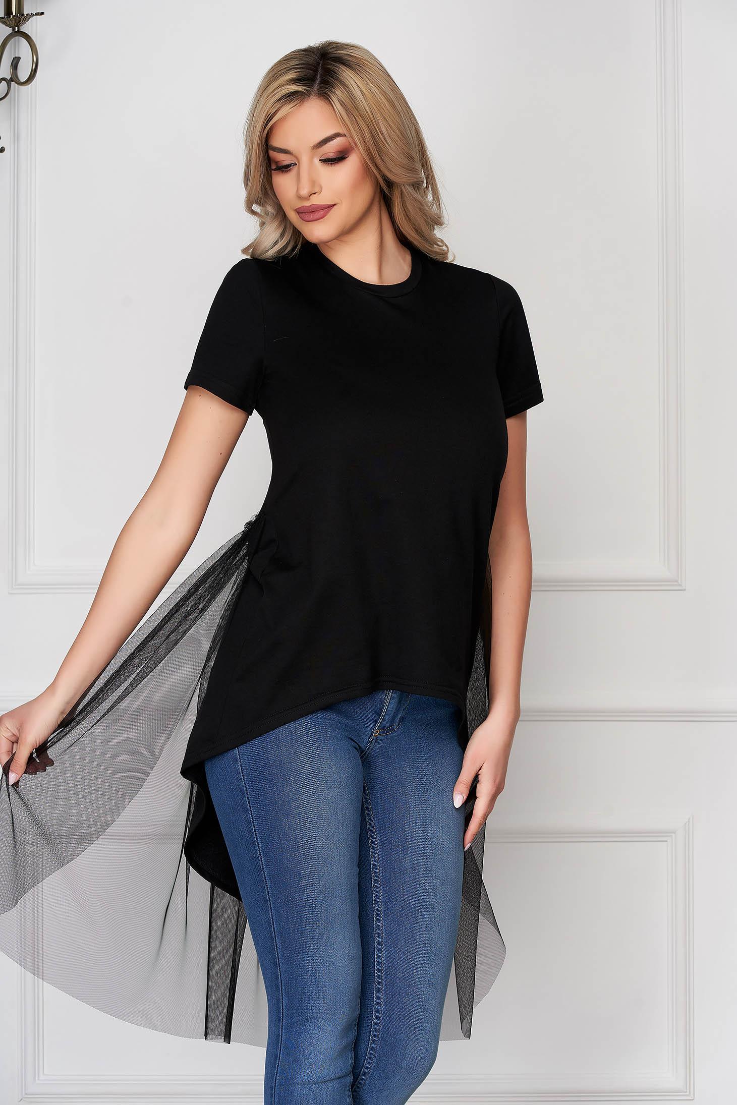 Tricou StarShinerS negru casual asimetric din stretch cu croi larg si aplicatii de tul