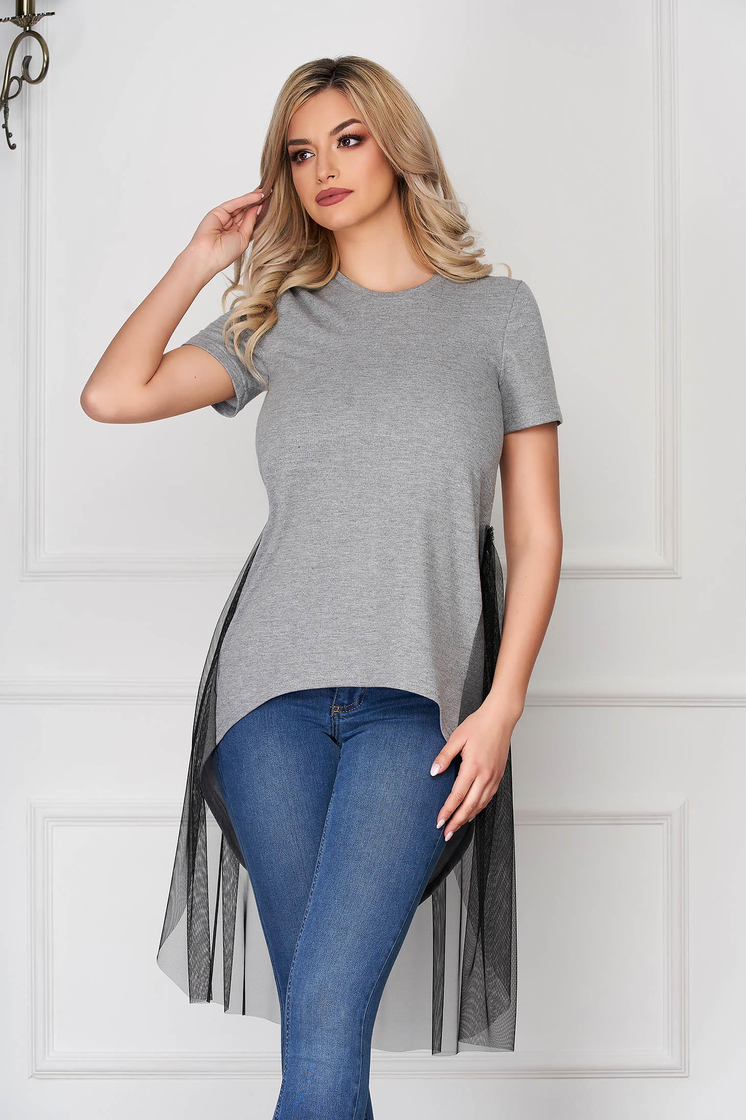 StarShinerS szürke casual aszimetrikus stretch bő szabású póló tűl kiegészítővel