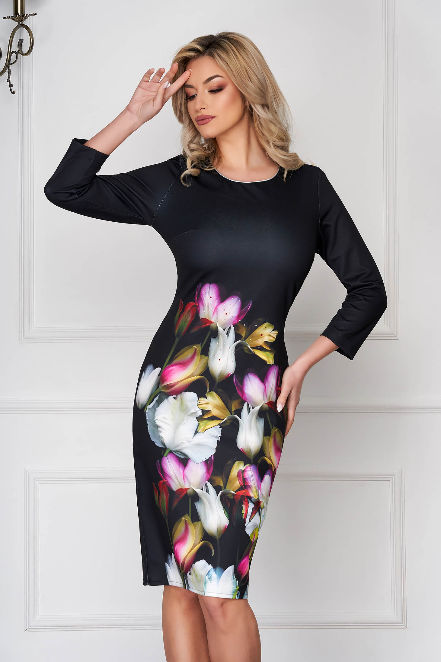 StarShinerS black dress elegant pencil midi with 3/4 sleeves with floral print