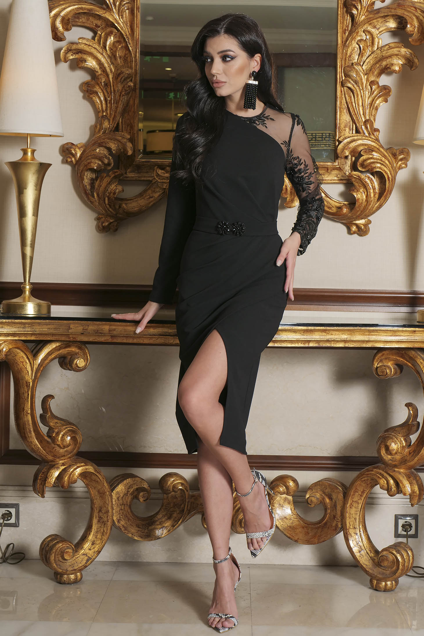Black dress occasional short cut pencil laced cloth long sleeved