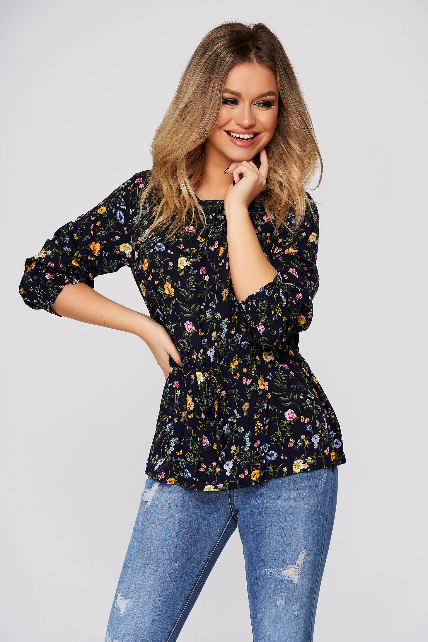 Darkblue women`s blouse casual flared airy fabric with floral prints