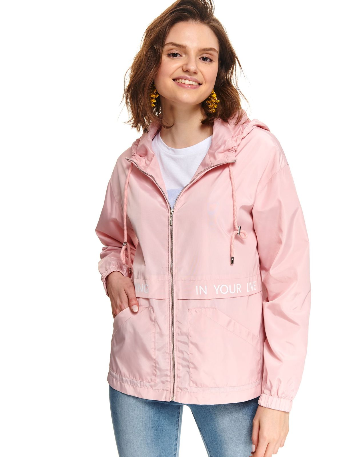 Lightpink jacket casual with pockets short cut