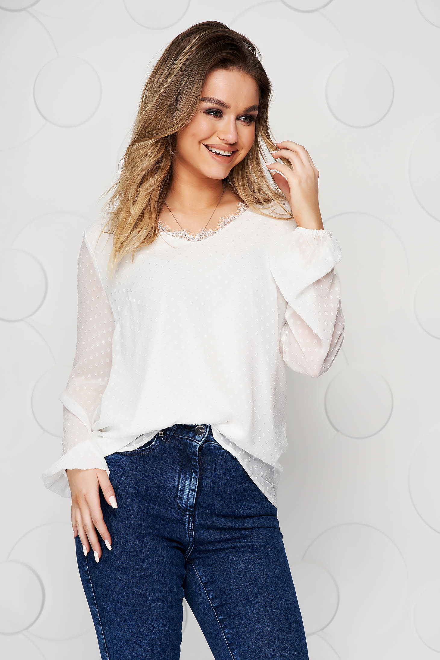 White women`s blouse loose fit plumeti with lace details