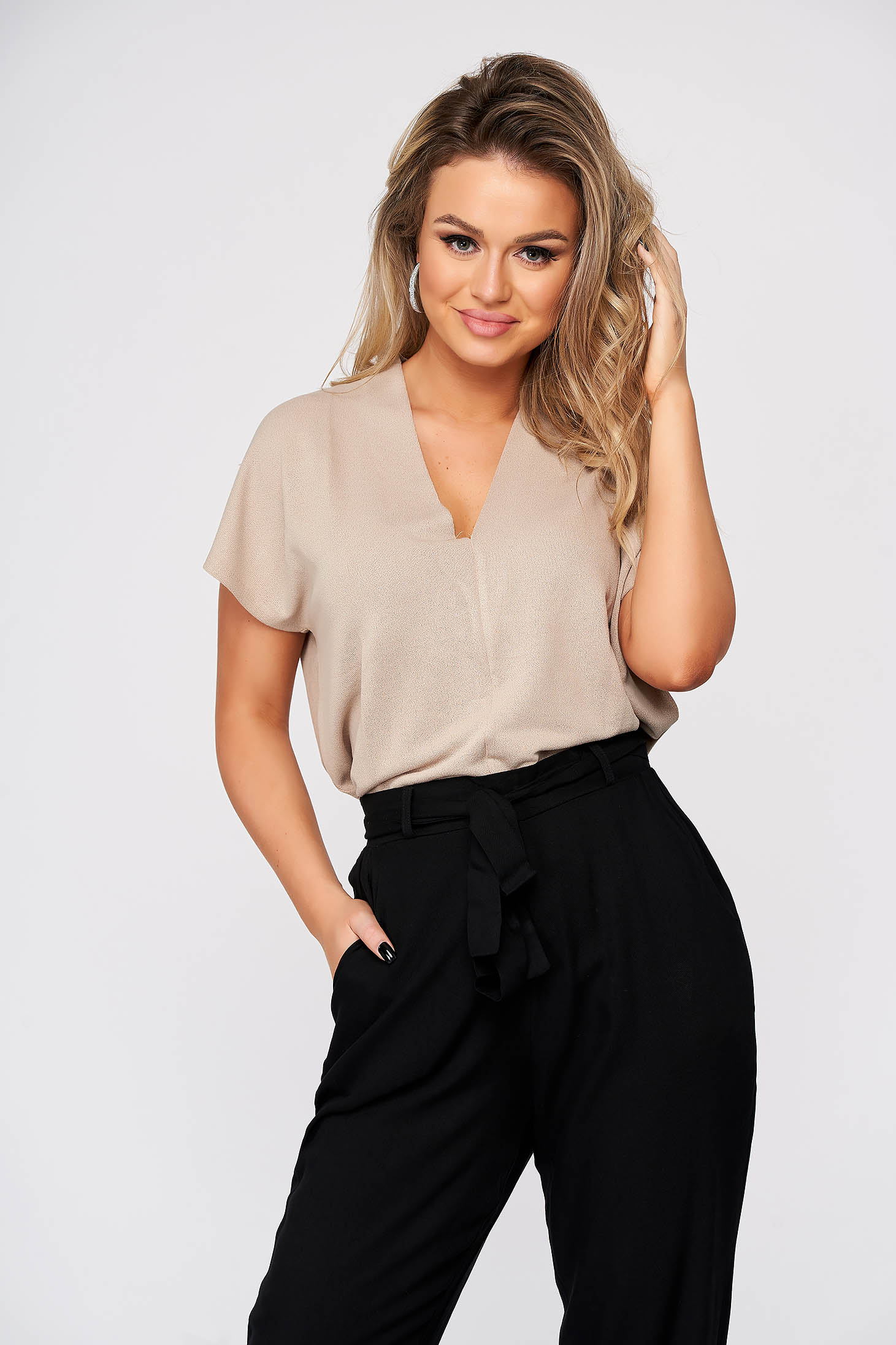 Peach women`s blouse casual flared with v-neckline short sleeves