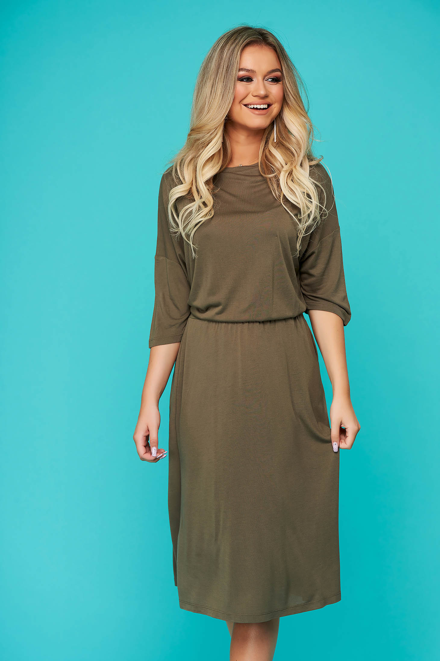 Green dress daily cloche midi long sleeved