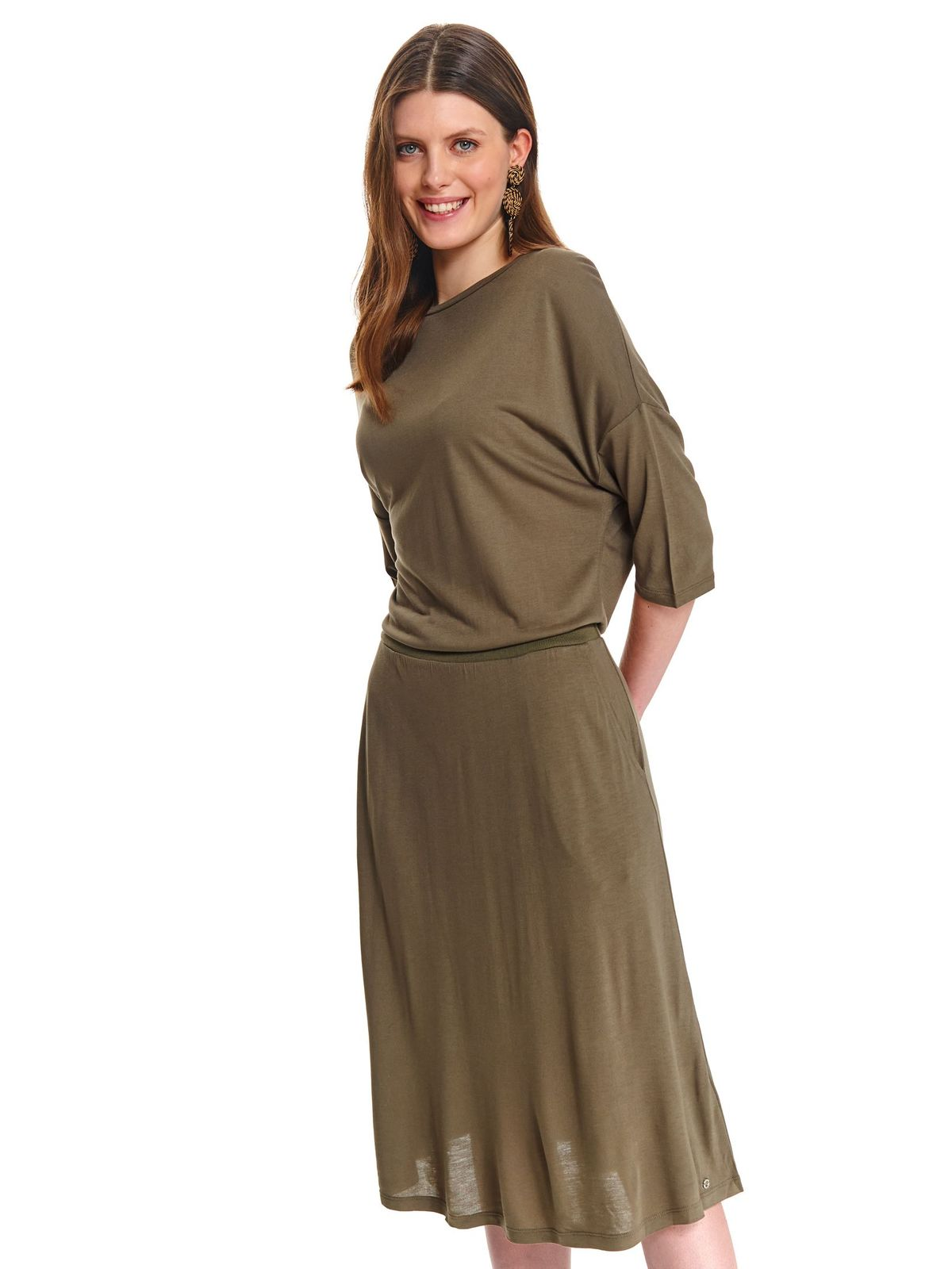 Rochie Top Secret verde midi de zi in clos cu maneci lungi