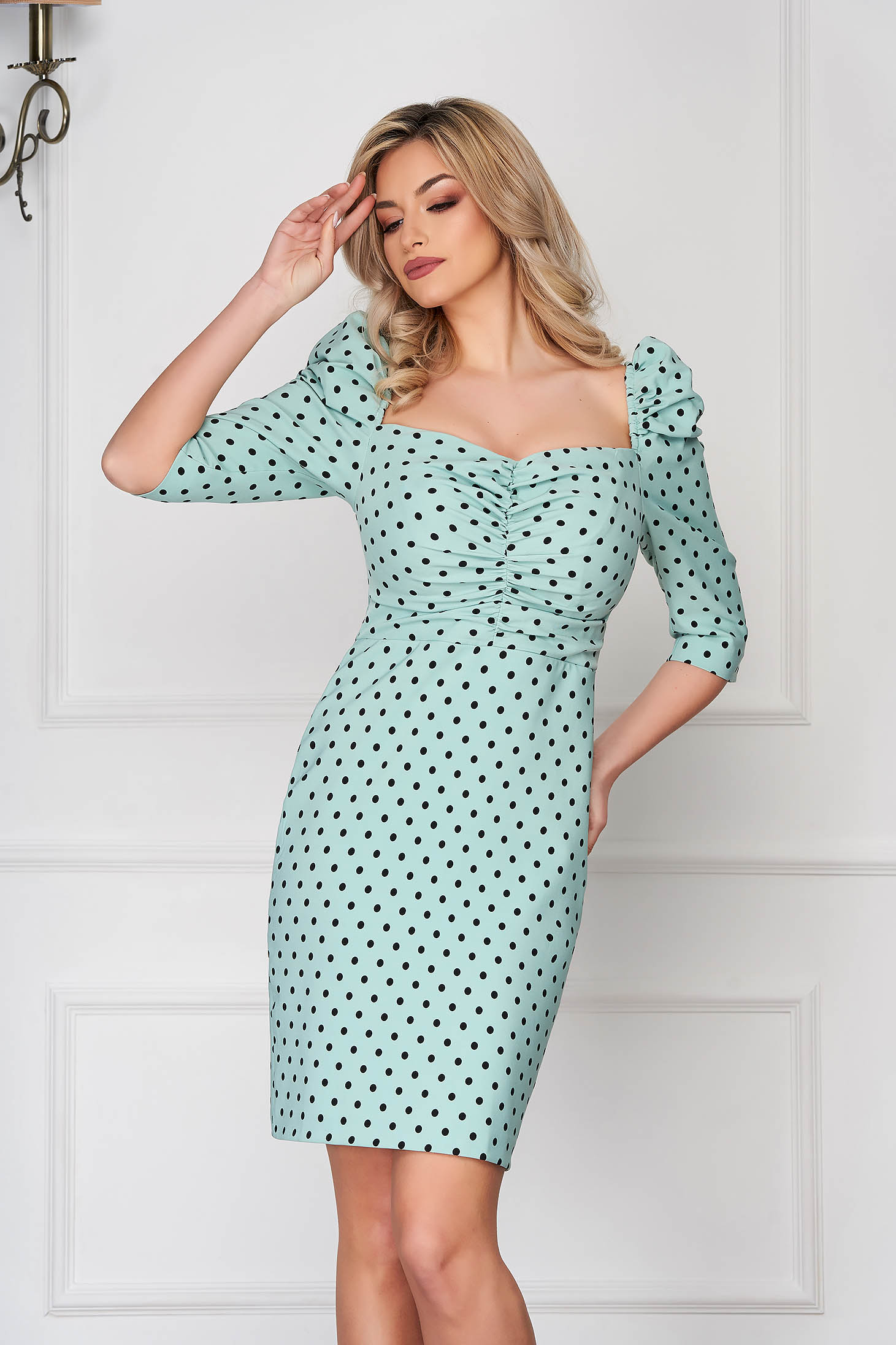 Mint dress short cut daily pencil high shoulders dots print