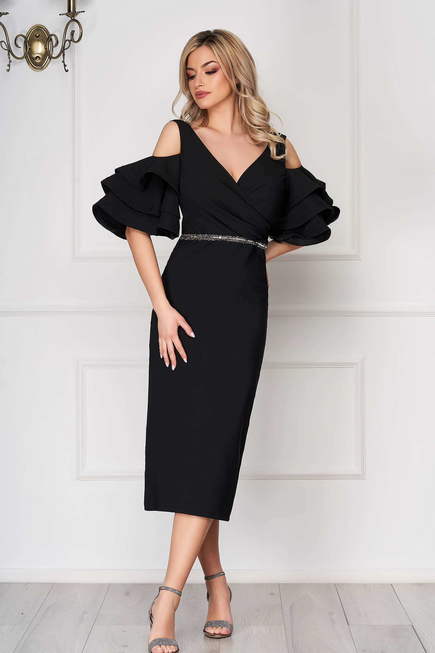 Black dress occasional midi pencil naked shoulders bell sleeves cloth thin fabric