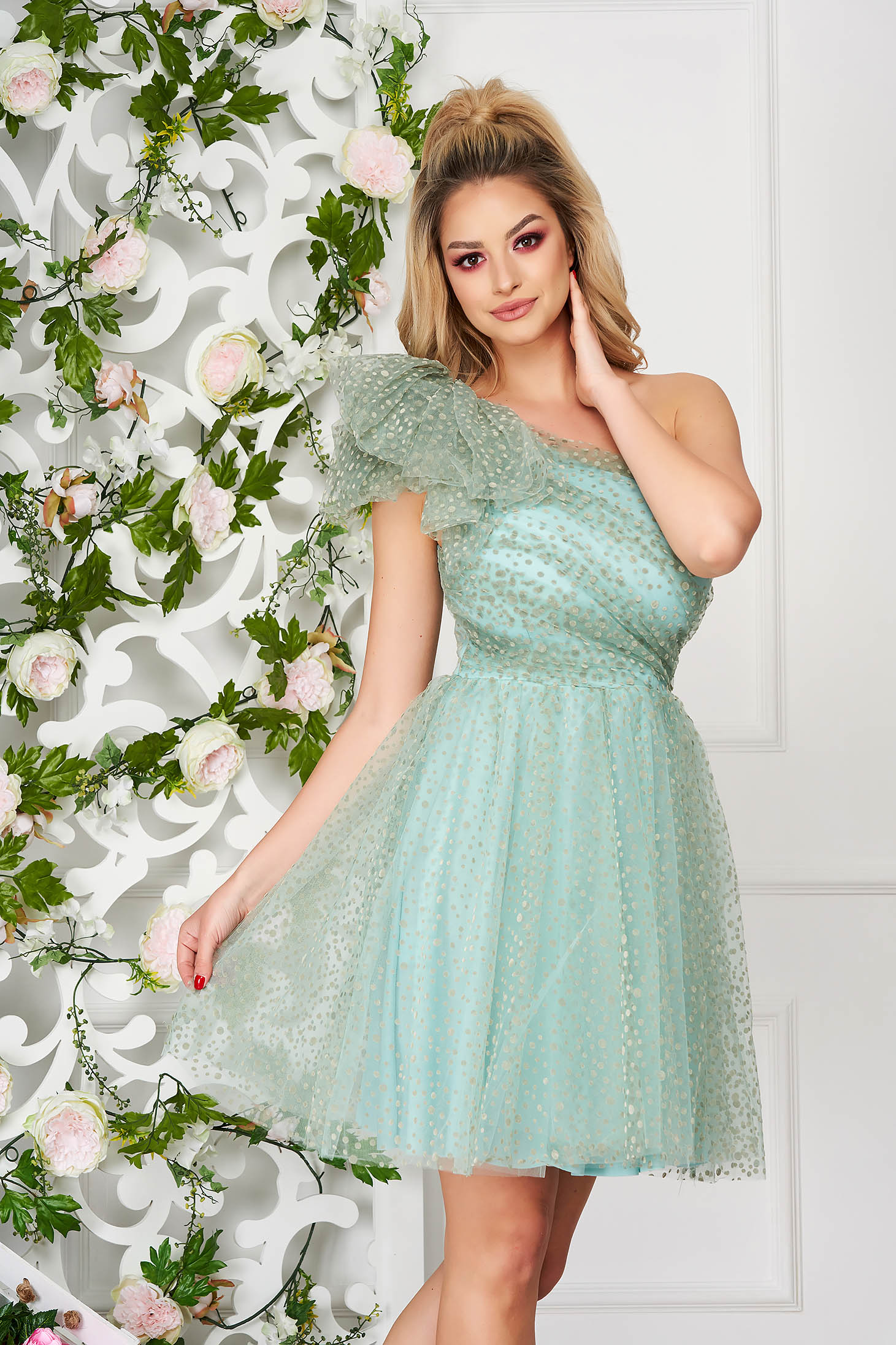 Mint dress occasional short cut cloche from tulle one shoulder plumeti