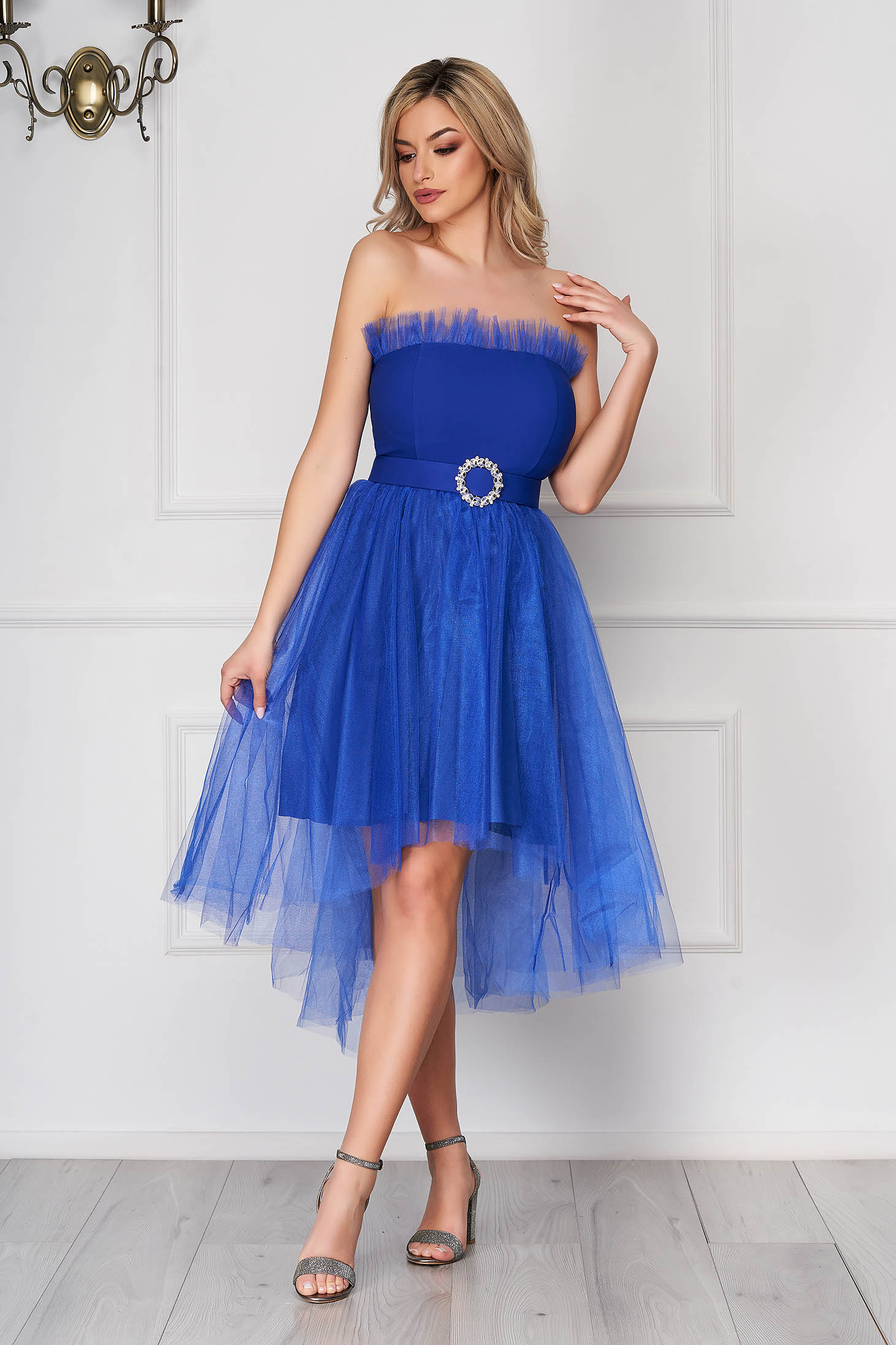 Blue dress occasional short cut cloche asymmetrical from tulle strapless