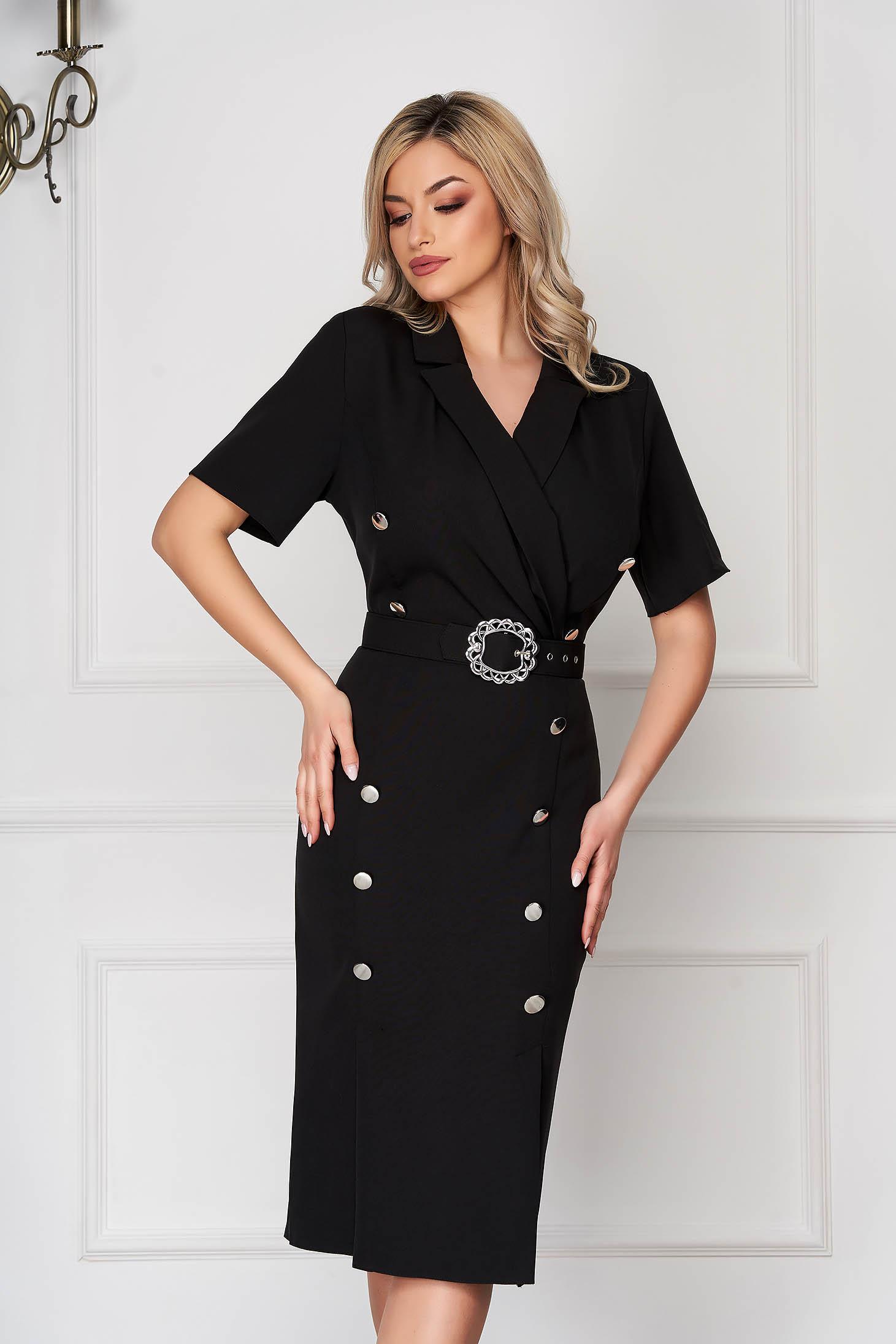 Rochie neagra eleganta midi tip creion din stofa subtire accesorizata cu nasturi
