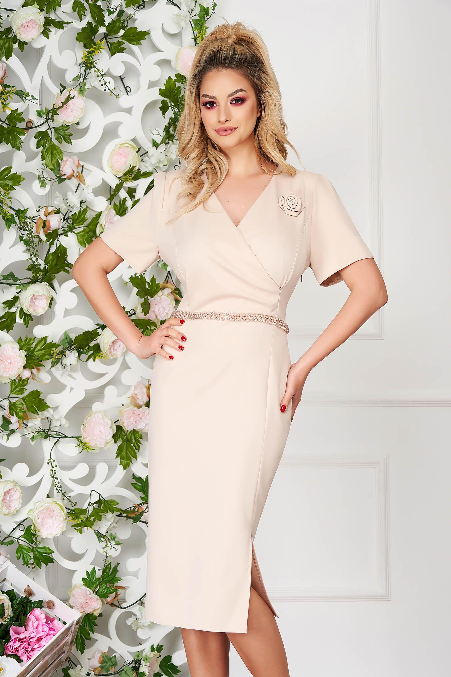 Cream dress elegant midi pencil short sleeves cloth thin fabric