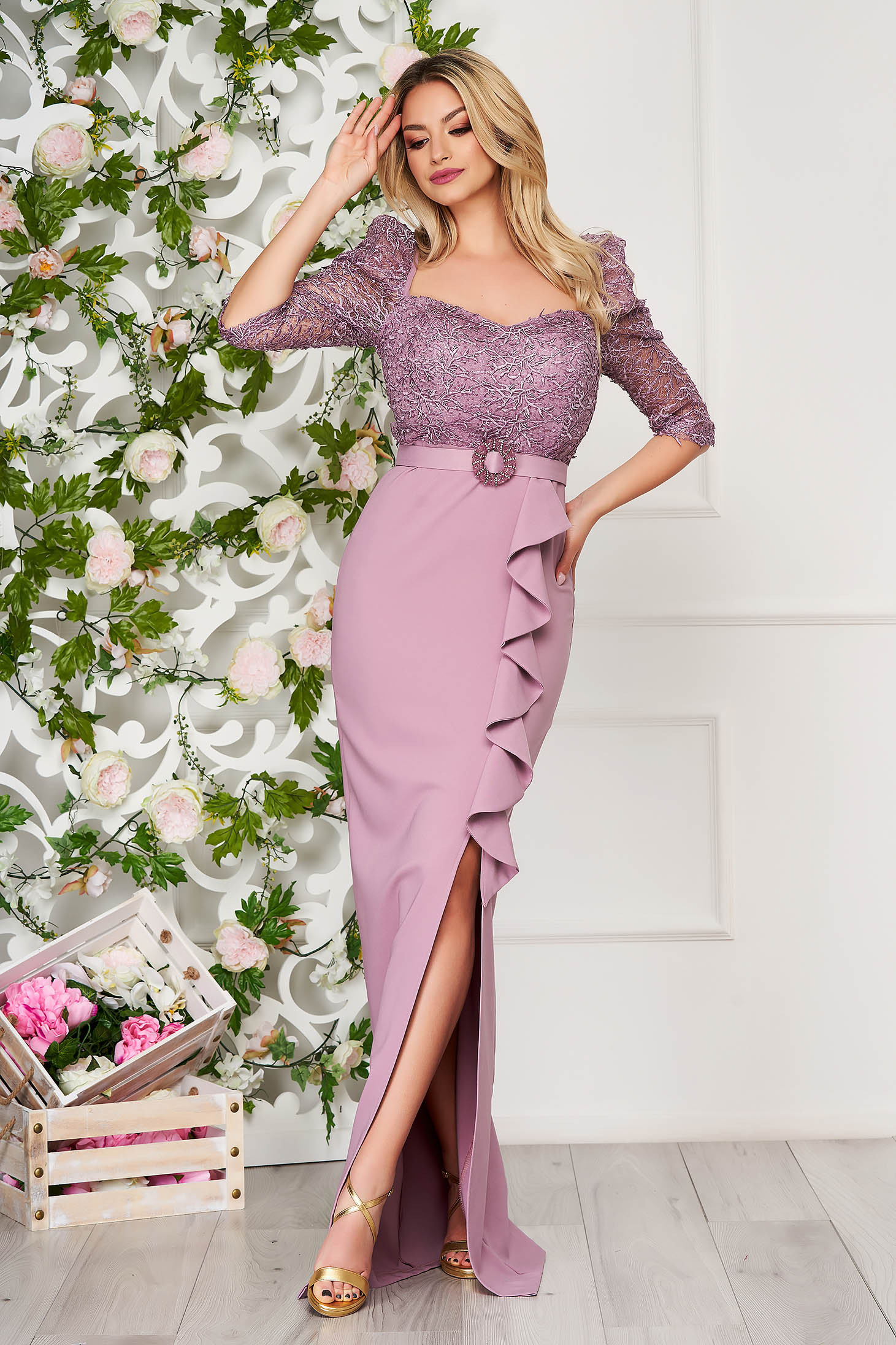 Lightpurple dress occasional long pencil cloth with ruffle details detachable cord