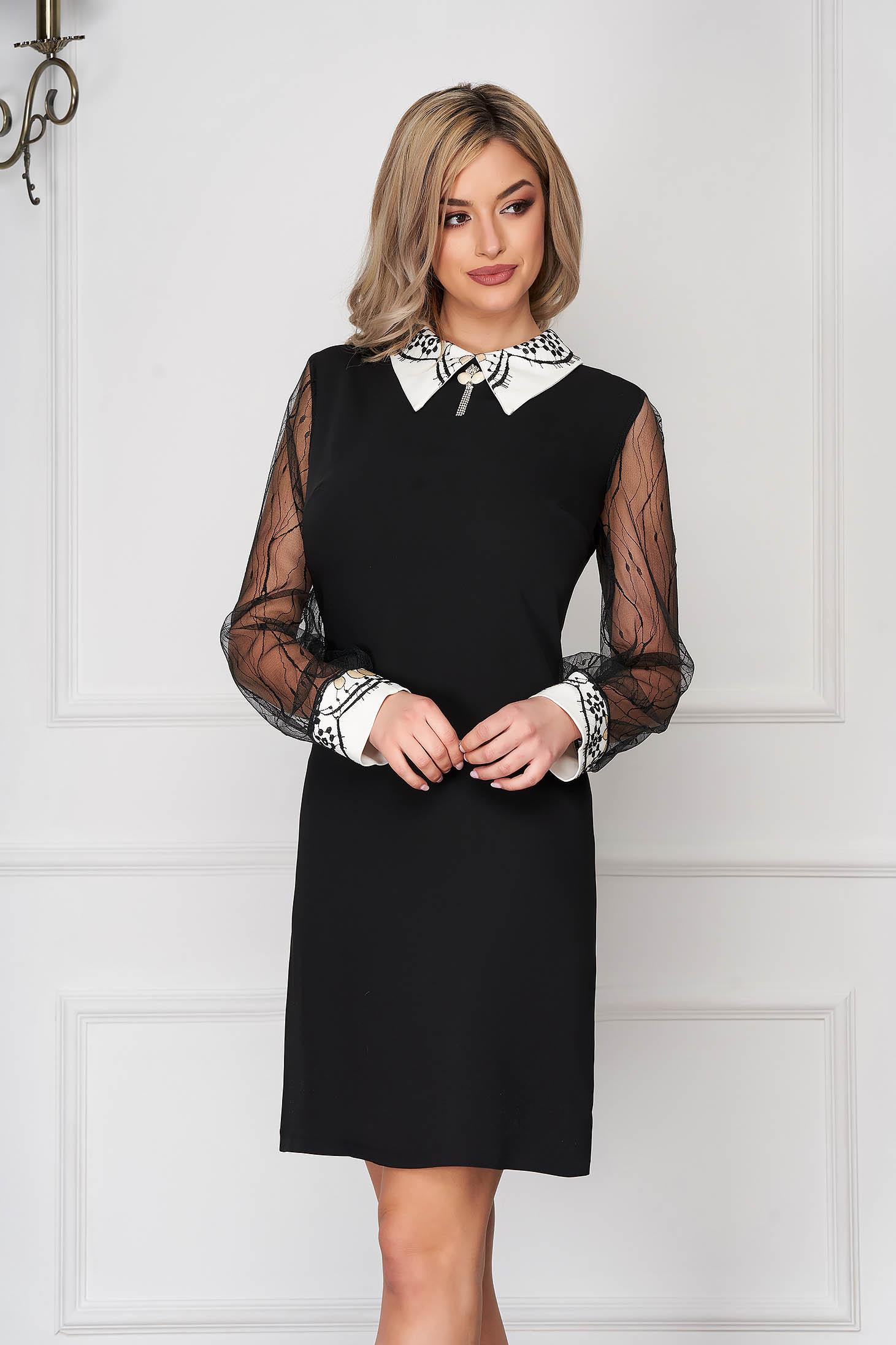 Rochie neagra eleganta scurta tip creion cu guler si maneci din voal