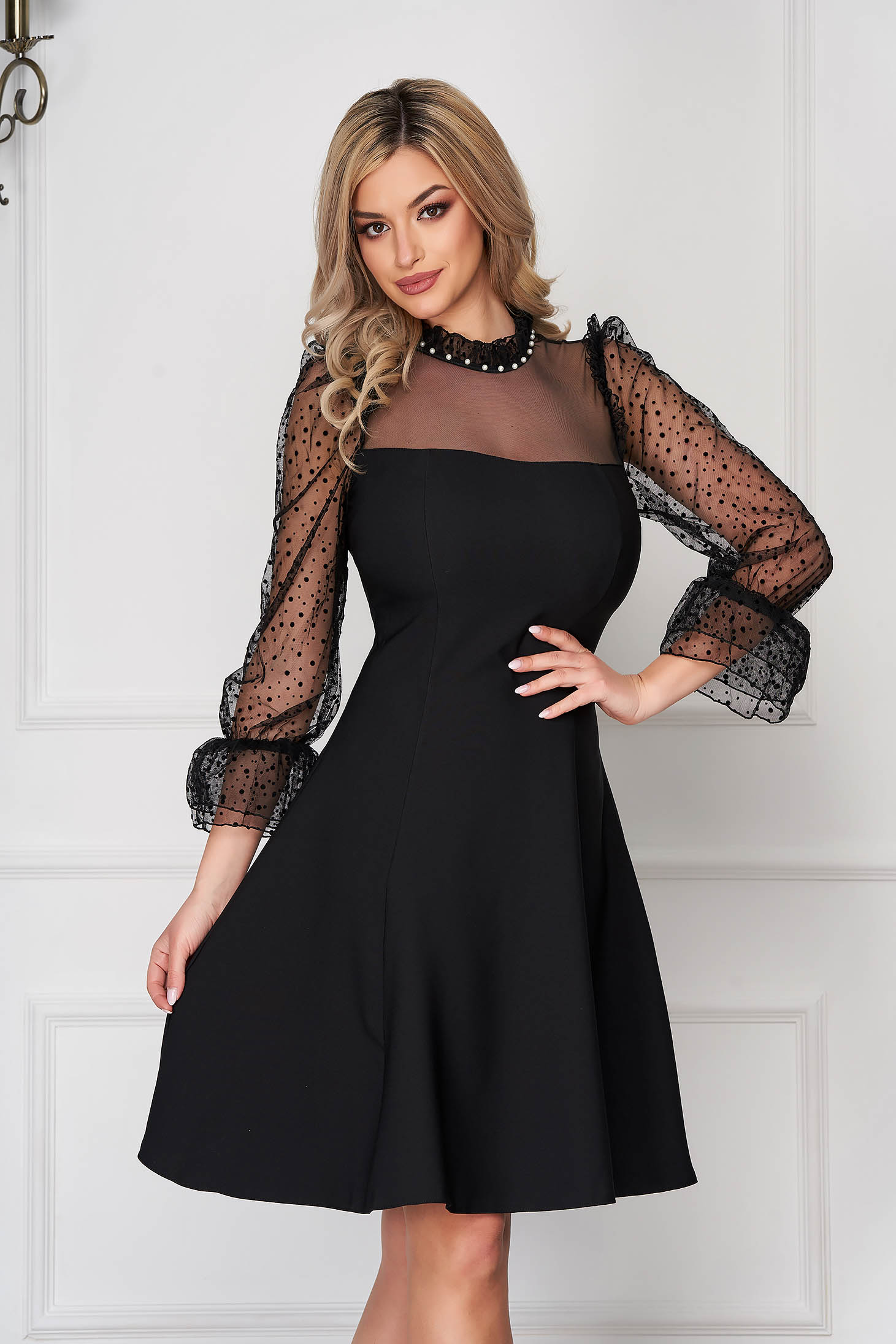 Black dress occasional short cut cloche cloth from tulle with bell sleeve with turtle neck