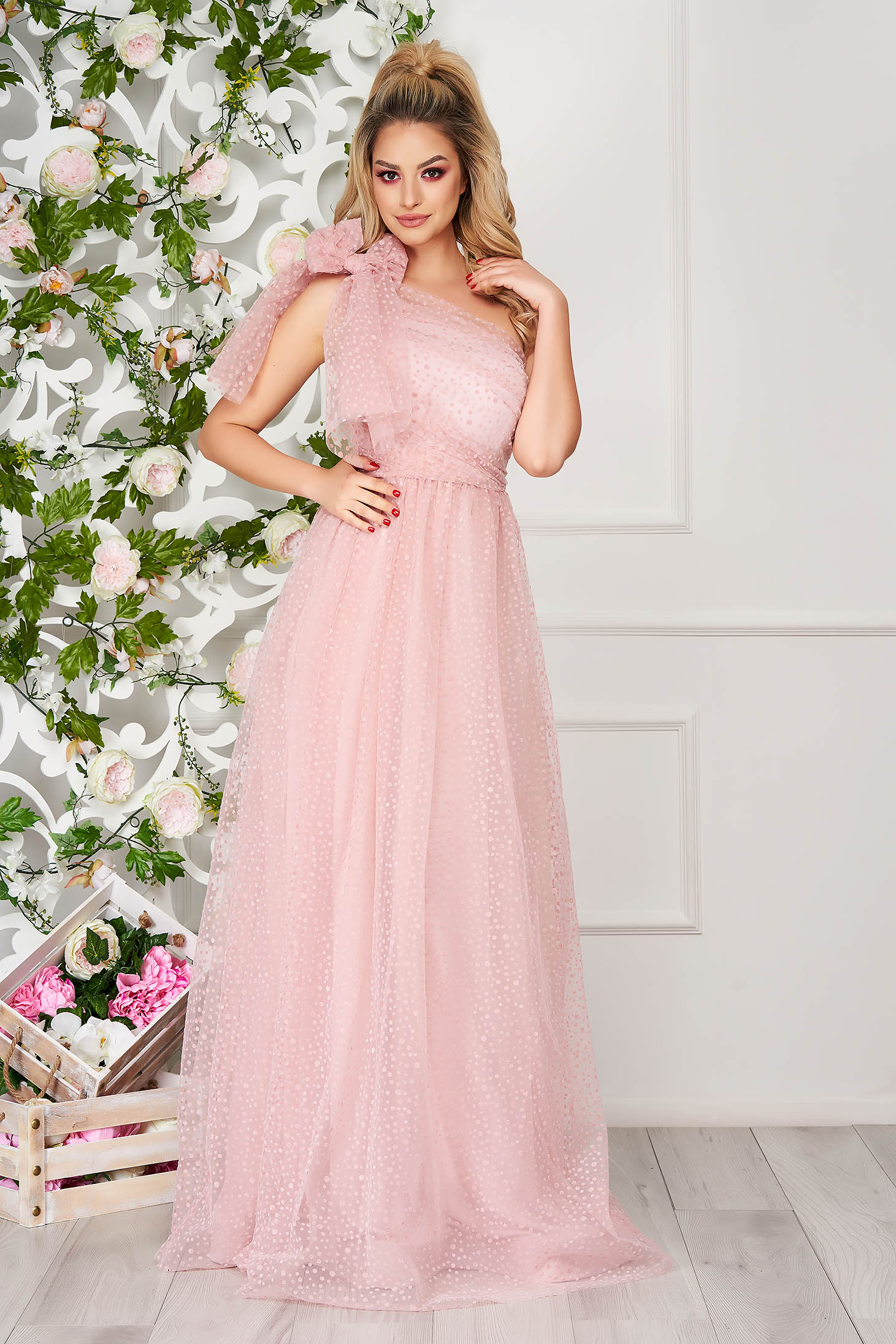 Lightpink dress occasional long cloche one shoulder plumeti from tulle