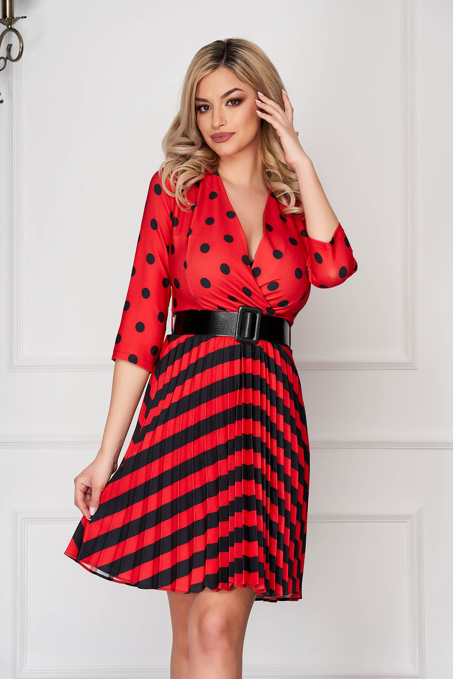 Red dress daily short cut cloche folded up with deep cleavage thin fabric