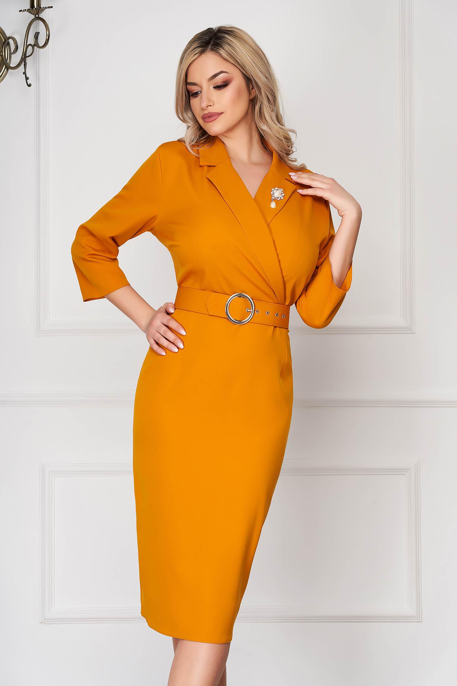 Mustard dress elegant midi pencil thin fabric accessorized with breastpin