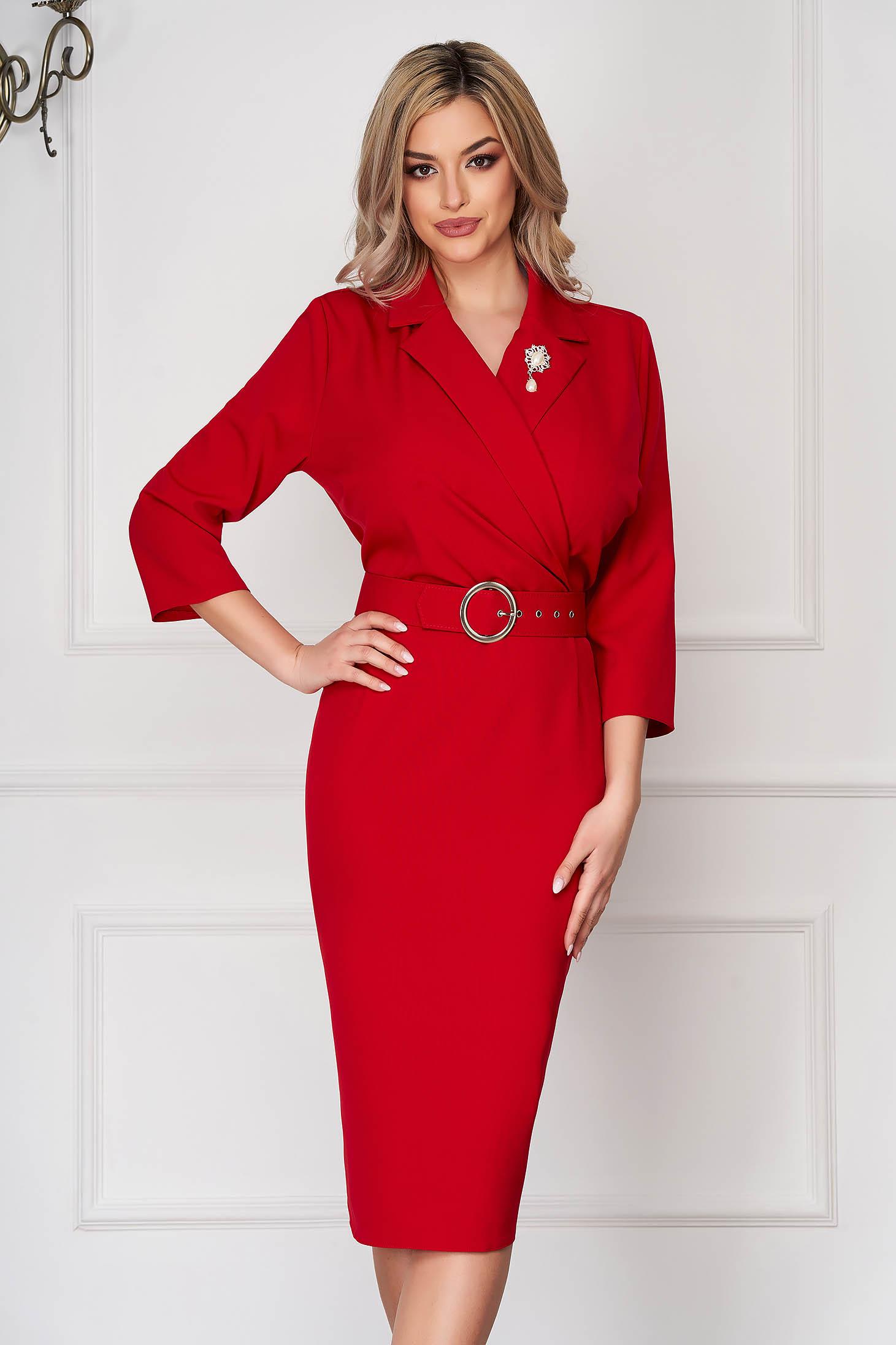 Red dress elegant midi pencil thin fabric accessorized with breastpin