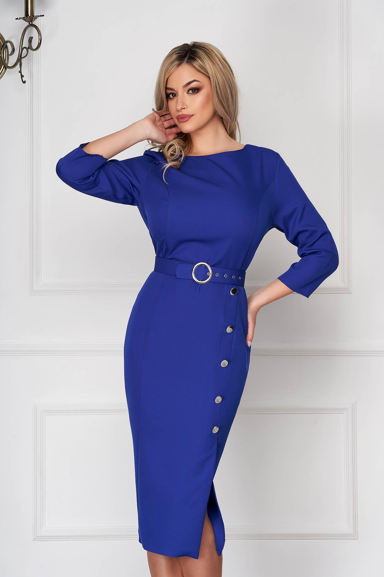 Rochie albastra office midi tip creion din stofa subtire accesorizata cu nasturi