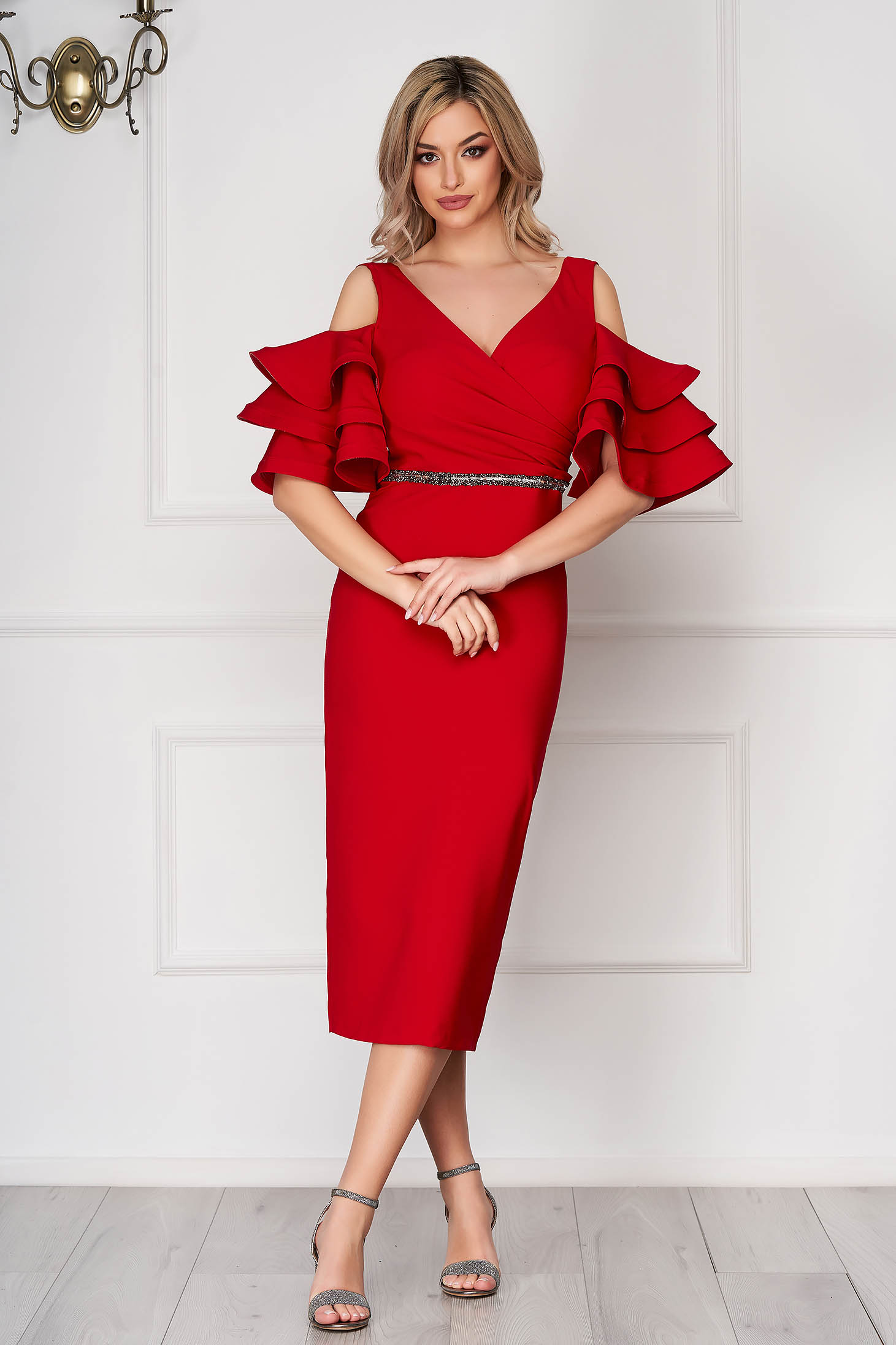Red dress occasional midi pencil naked shoulders bell sleeves cloth thin fabric
