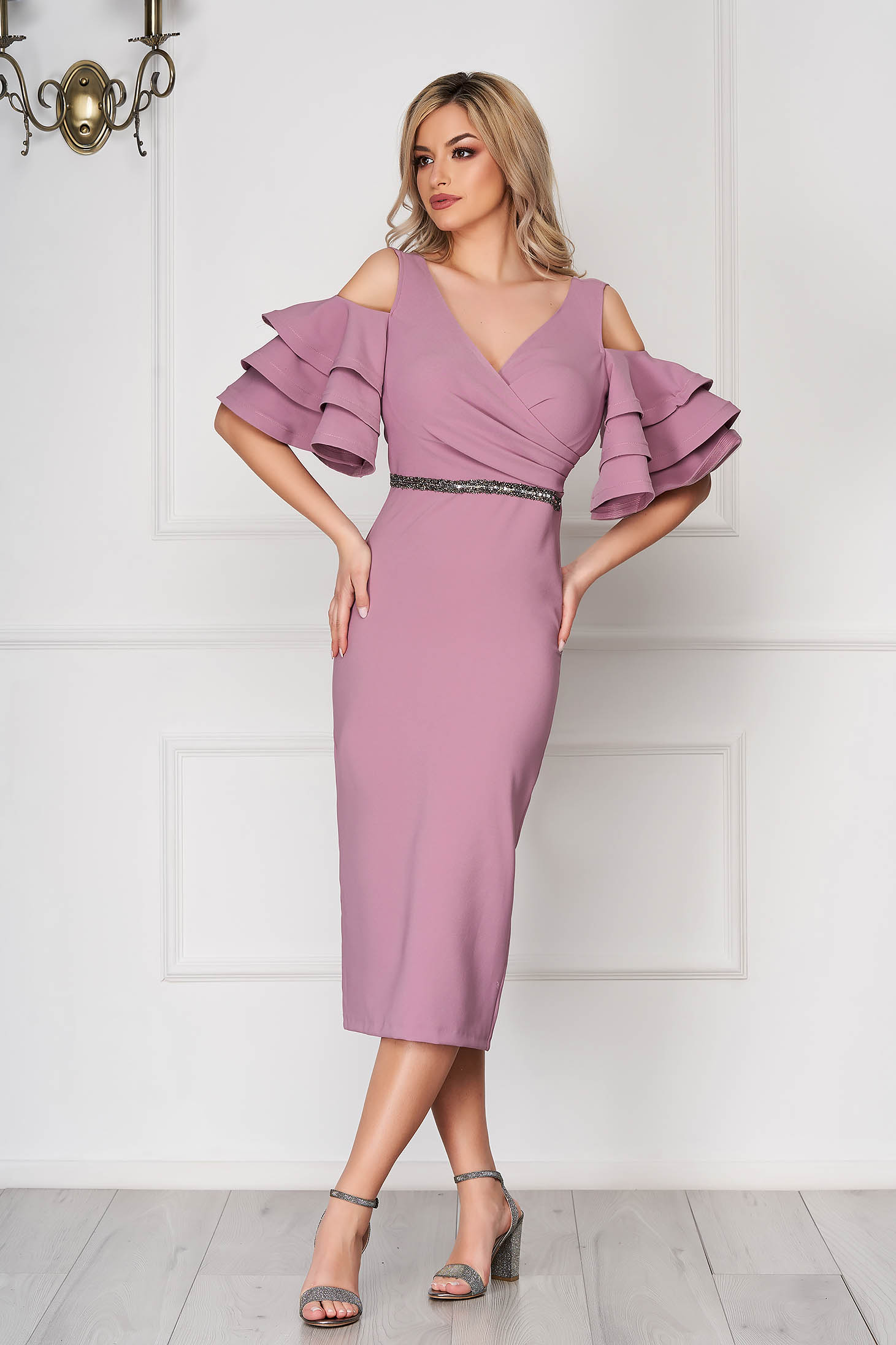 Lila dress occasional midi pencil naked shoulders bell sleeves cloth thin fabric