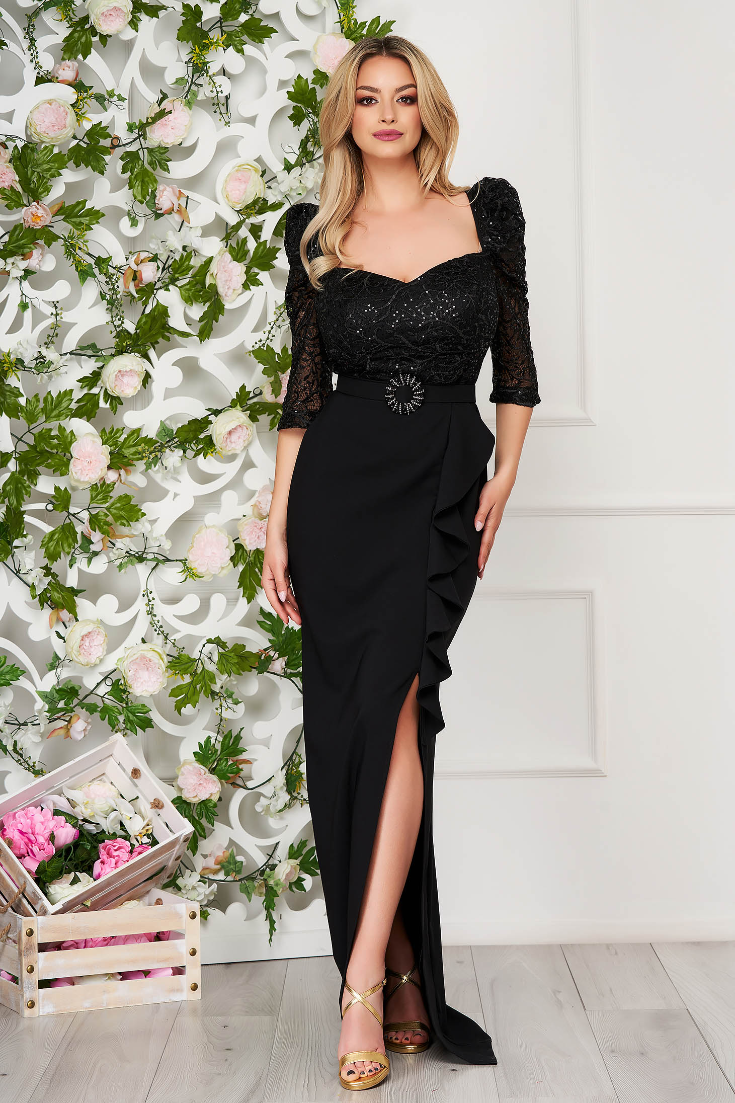 Black dress occasional long pencil cloth with ruffle details detachable cord