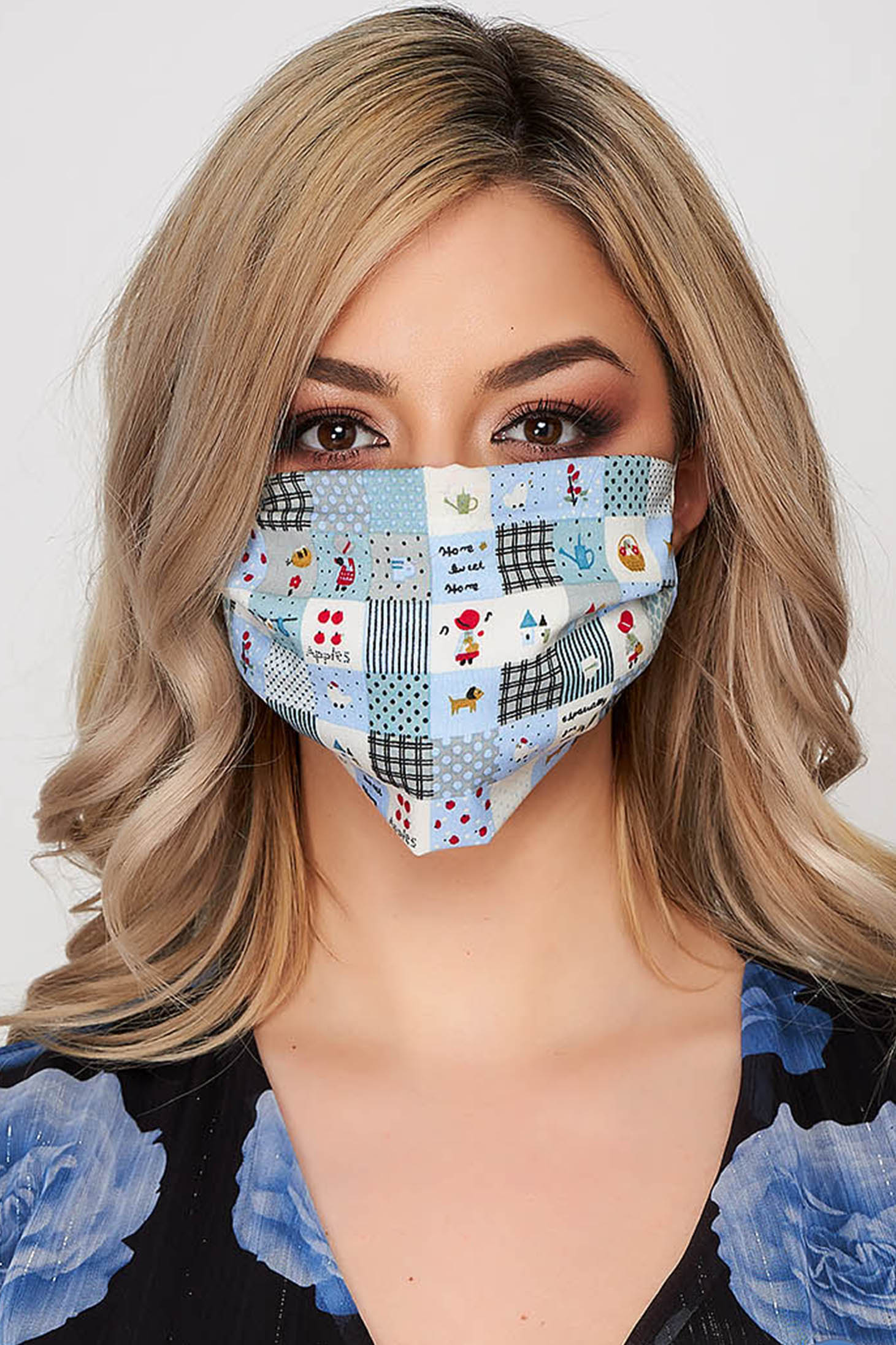 Set 5 bucati masca de protectie pentru adulti StarShinerS albastra din poplin