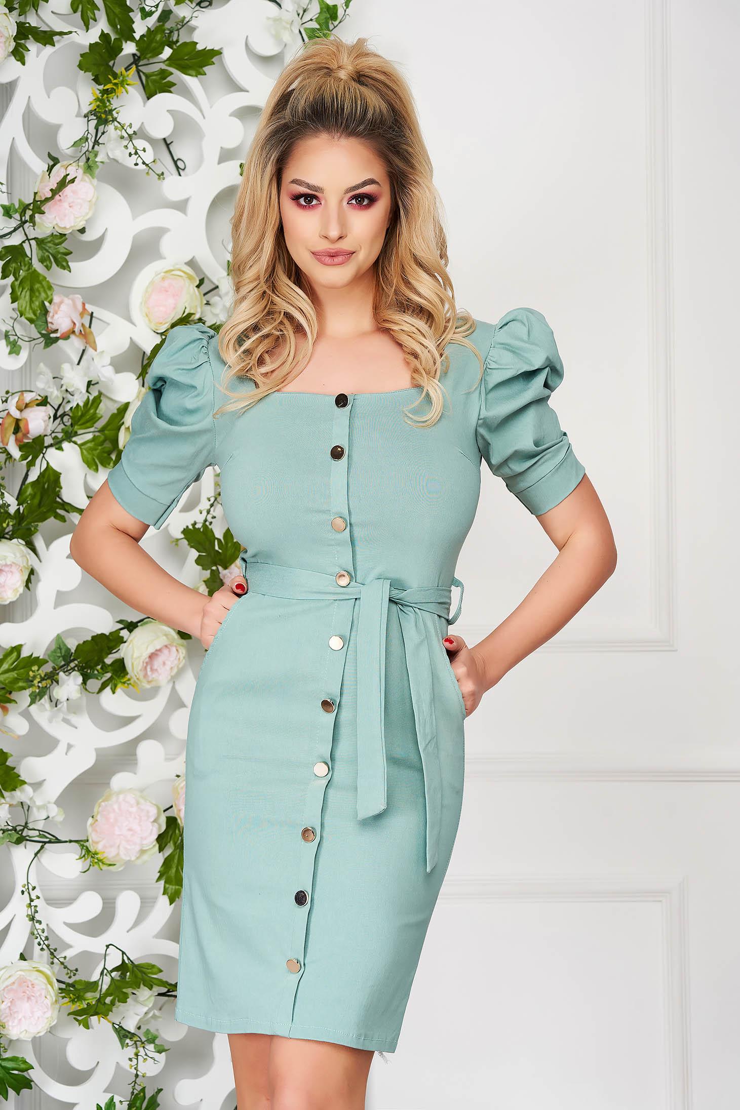 Turquoise dress elegant short cut pencil with pockets high shoulders
