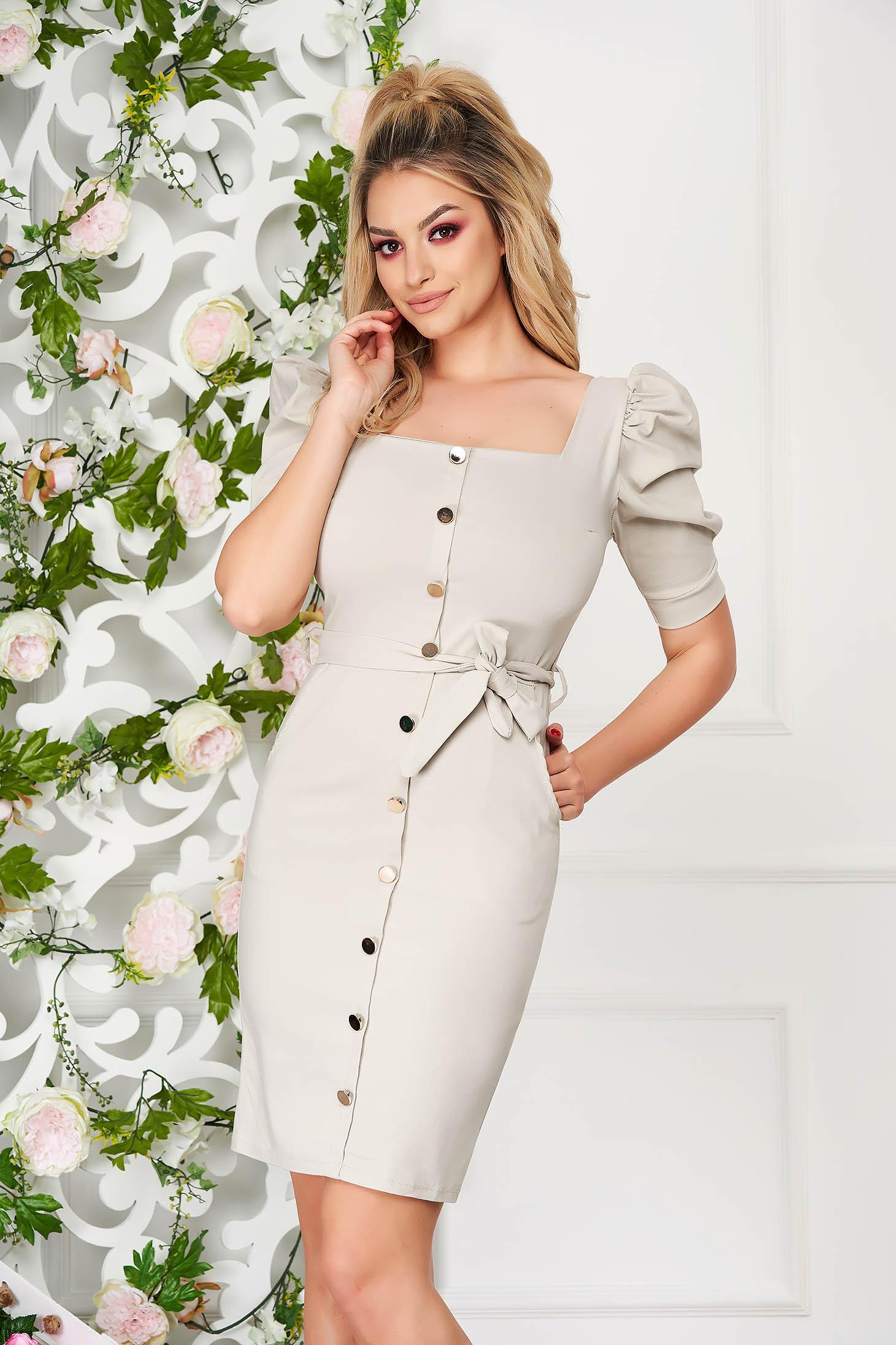Cream dress elegant short cut pencil with pockets high shoulders