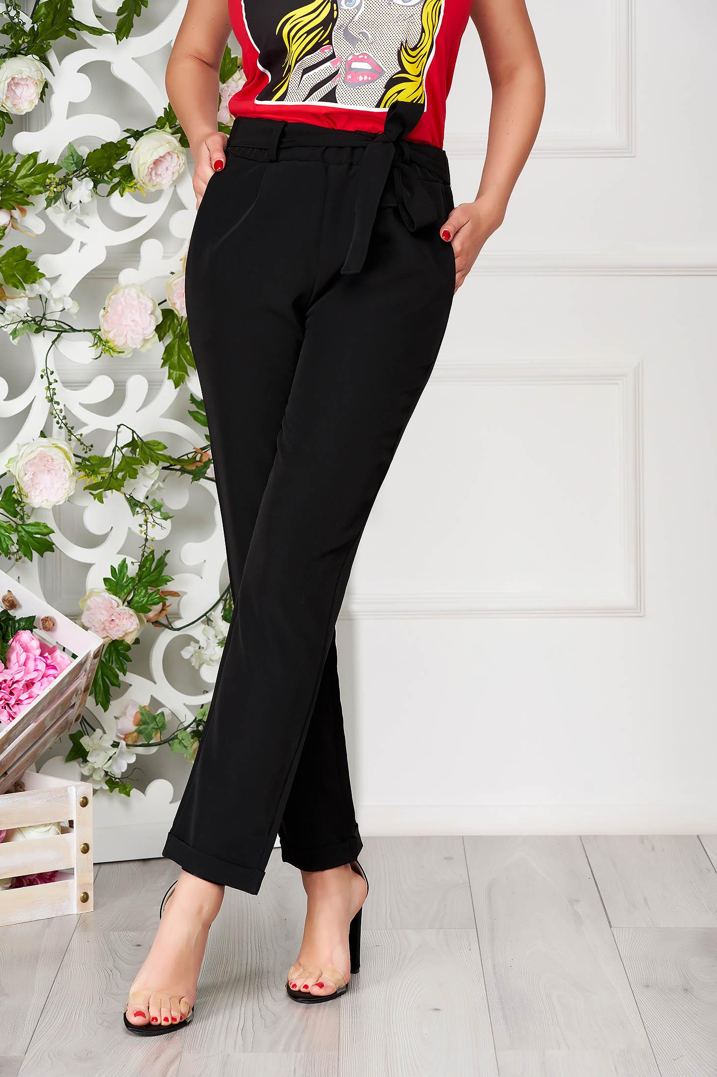 Pantaloni SunShine negri eleganti cu un croi drept si buzunare