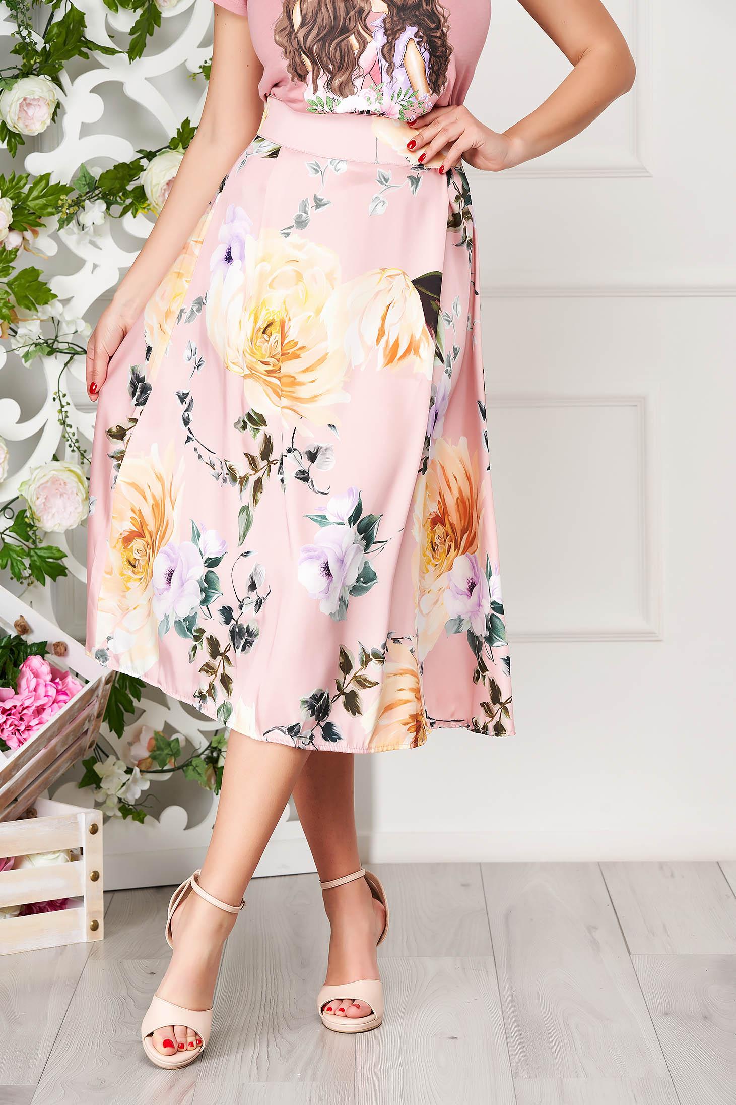 Lightpink skirt elegant midi cloche with floral print