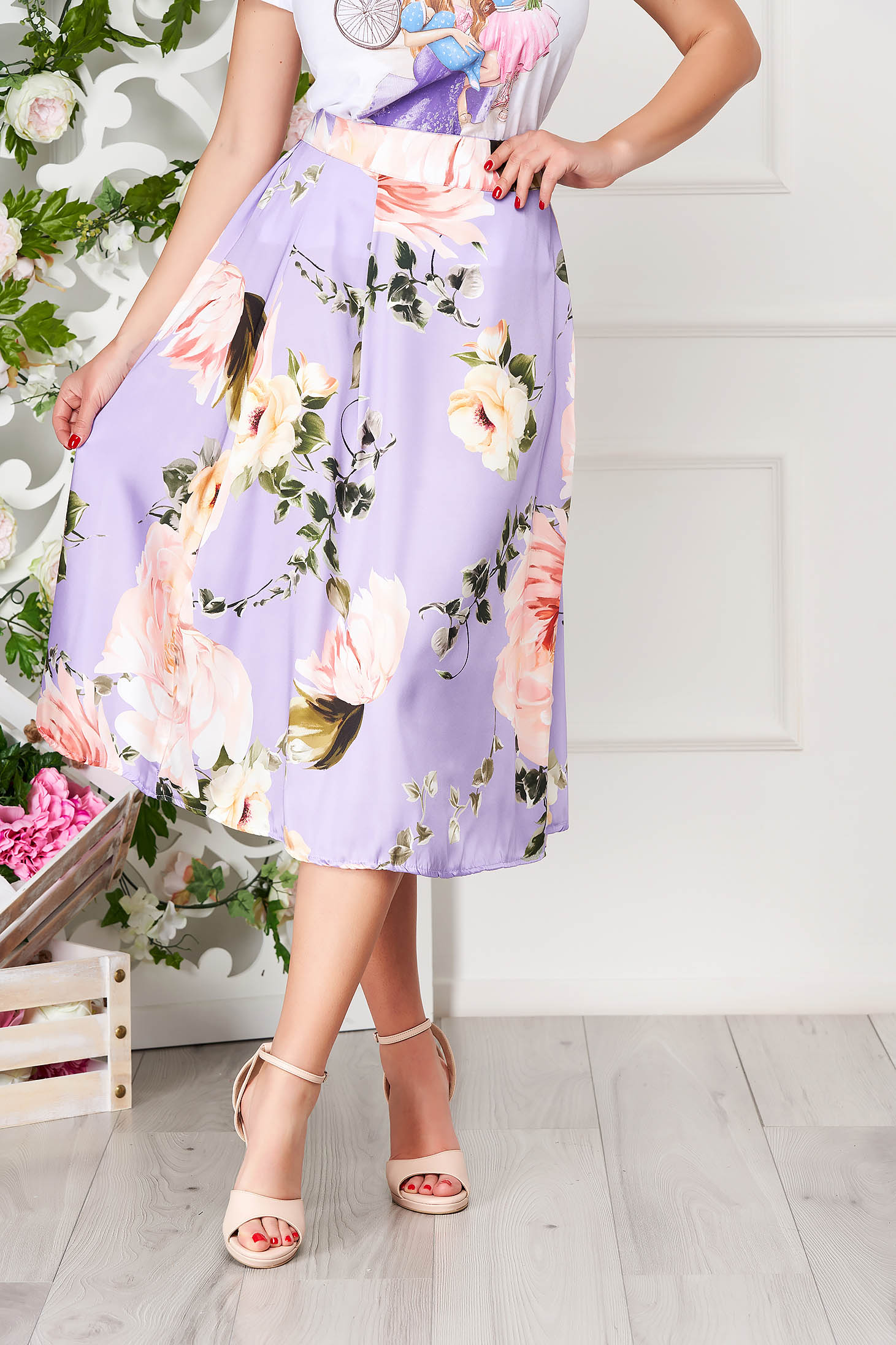 Purple skirt elegant midi cloche with floral print