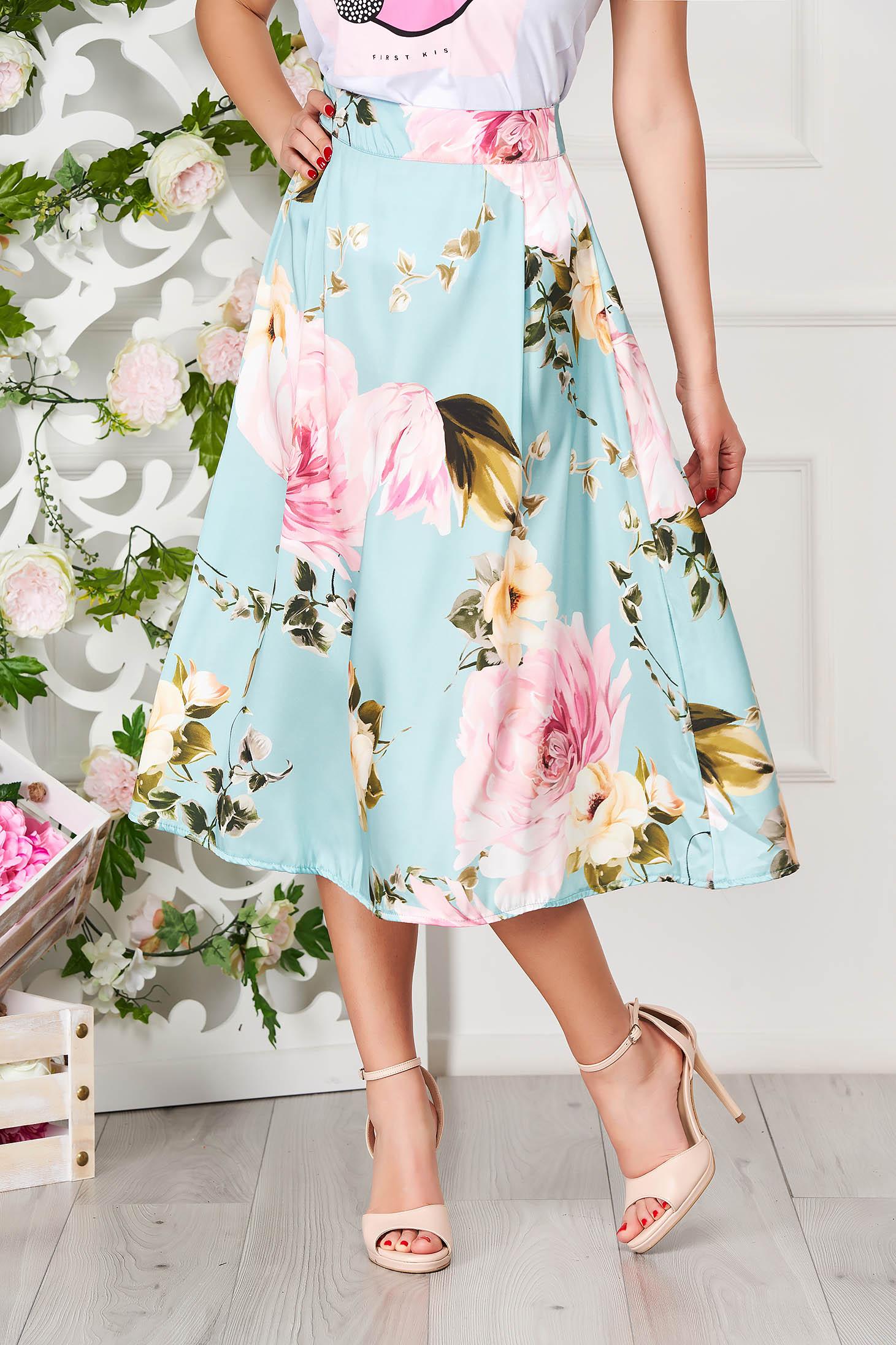 Fusta SunShine turcoaz eleganta midi in clos cu imprimeu floral